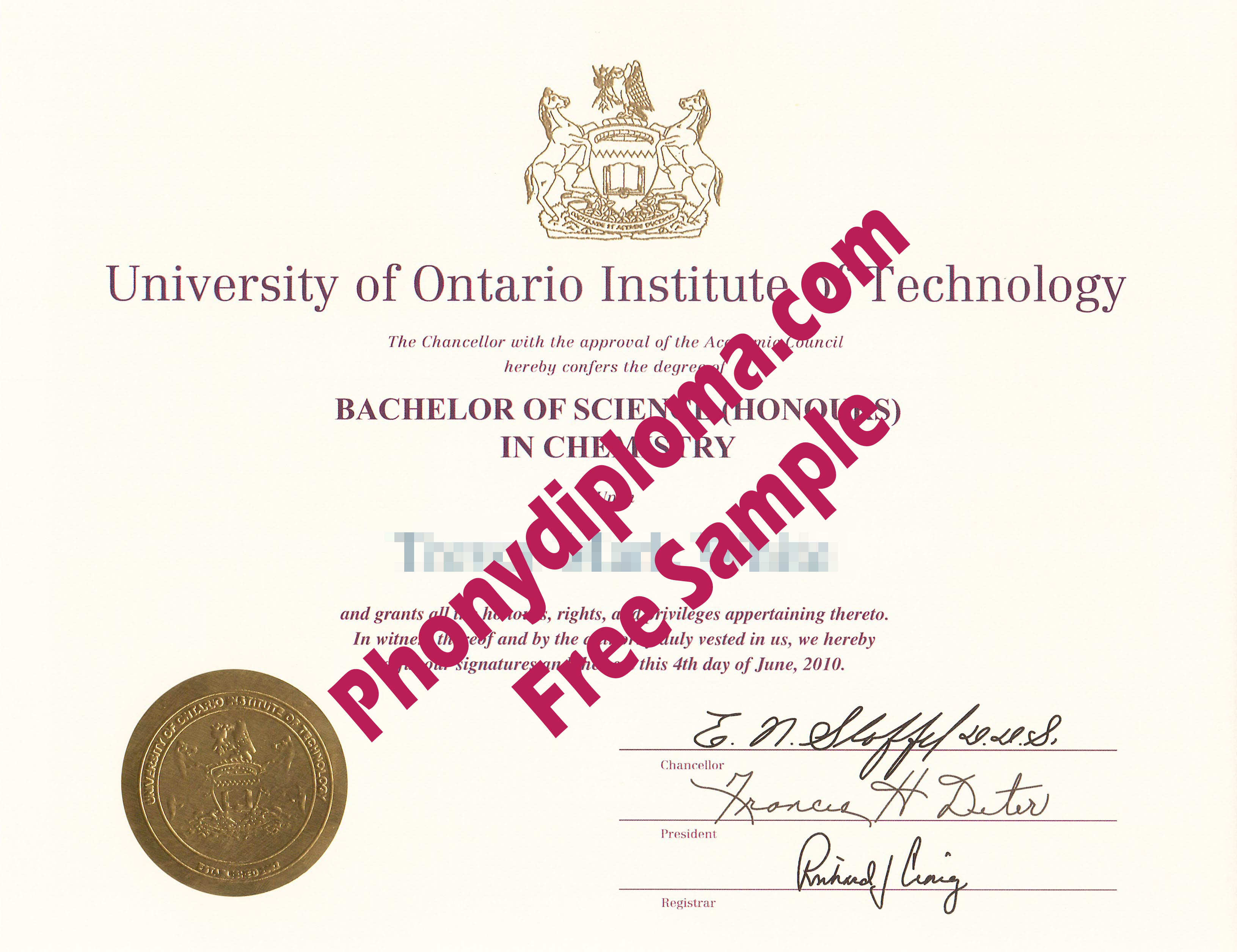 University Of Ontario Institute Of Technology Free Sample From Phonydiploma