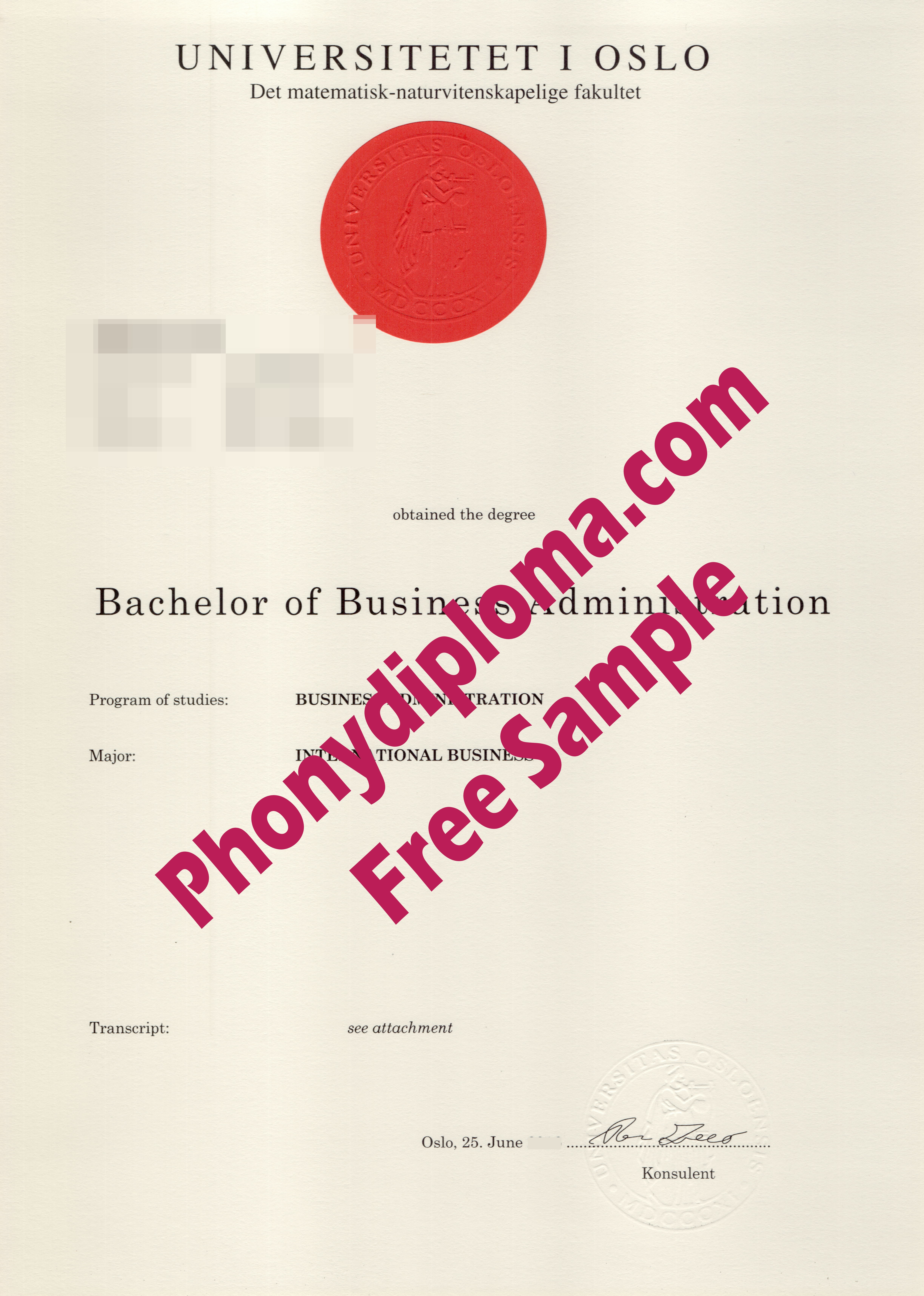 University Of Oslo Free Sample From Phonydiploma