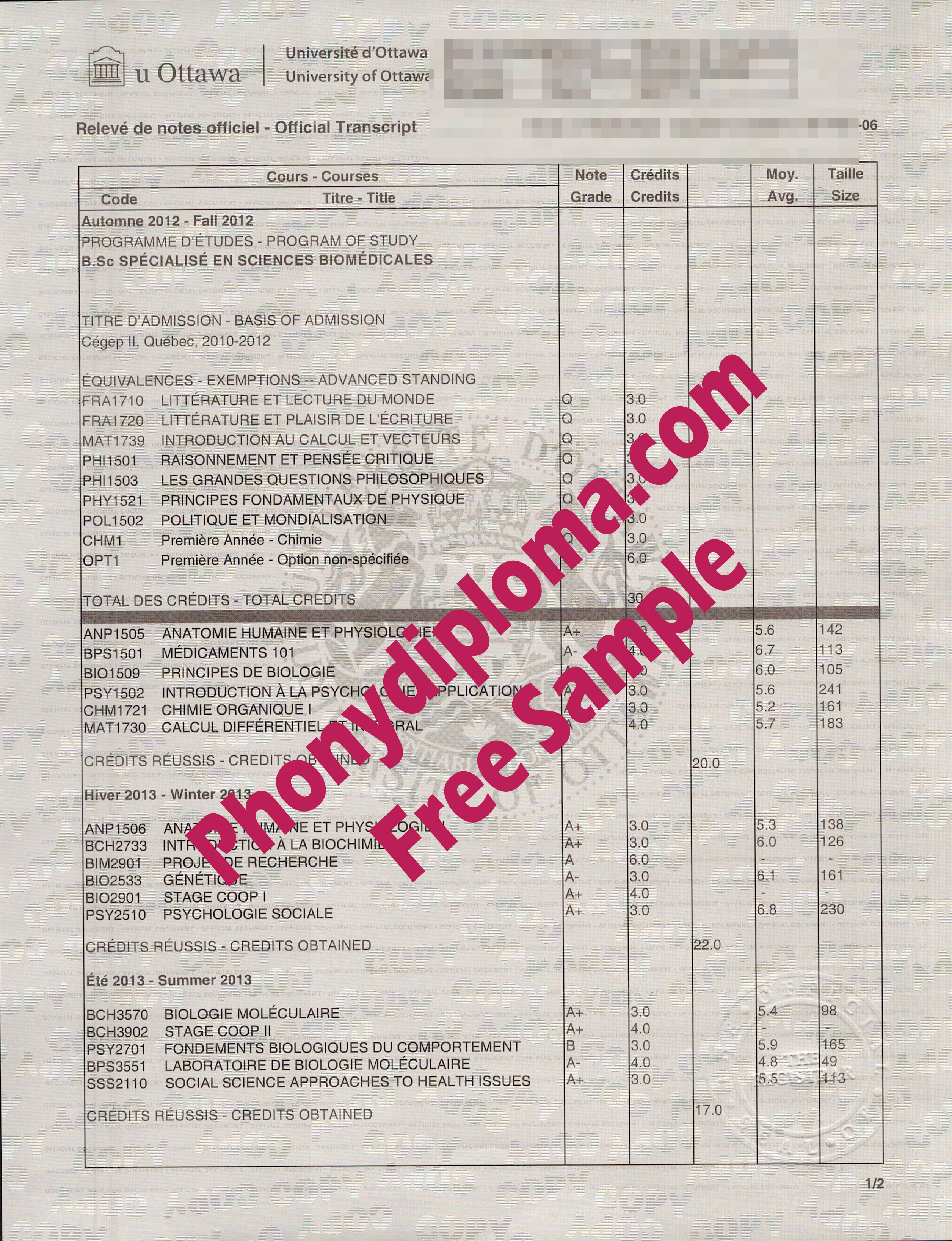 University Of Ottawa Actual Match Transcript Free Sample From Phonydiploma