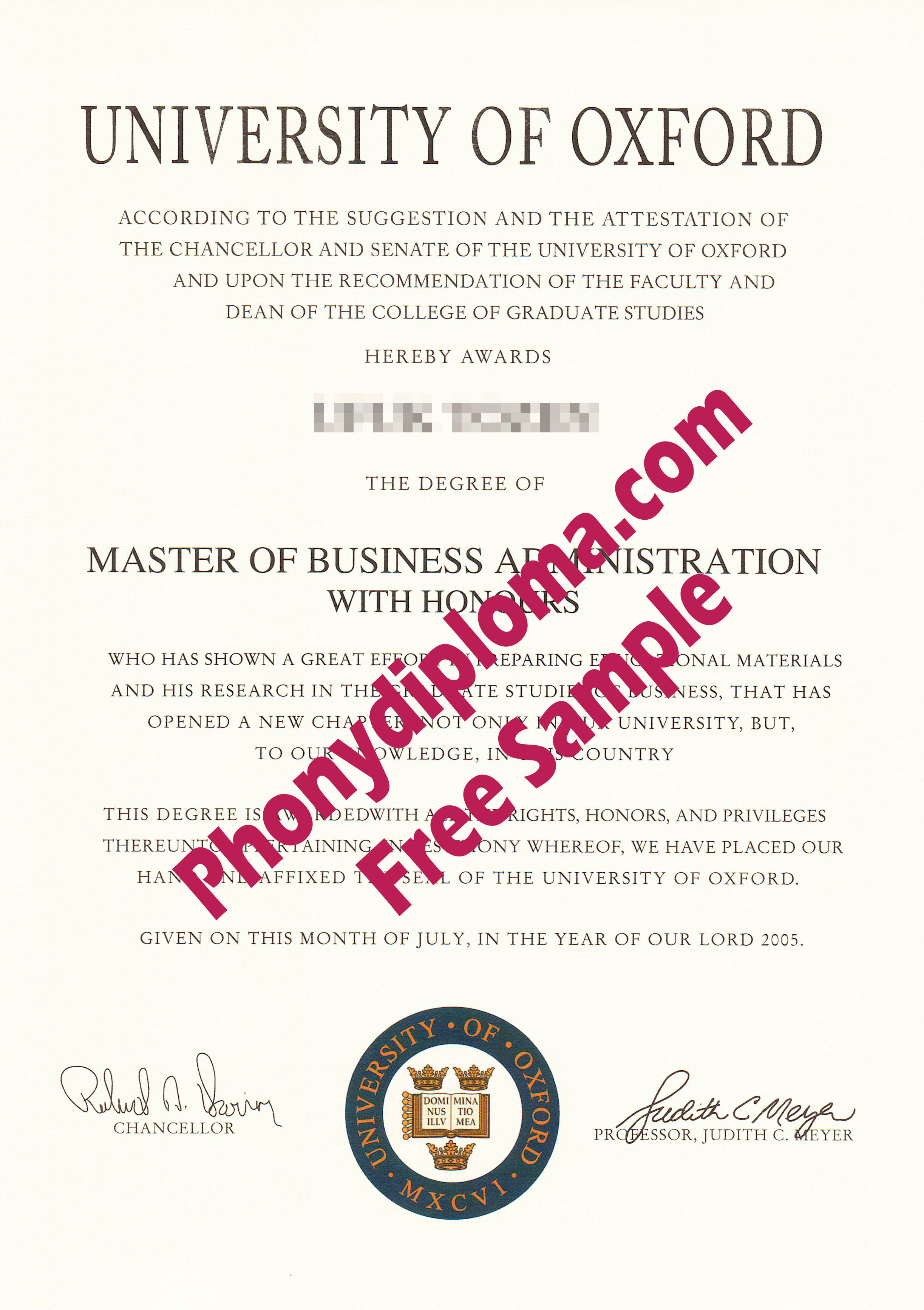 University Of Oxford Free Sample From Phonydiploma
