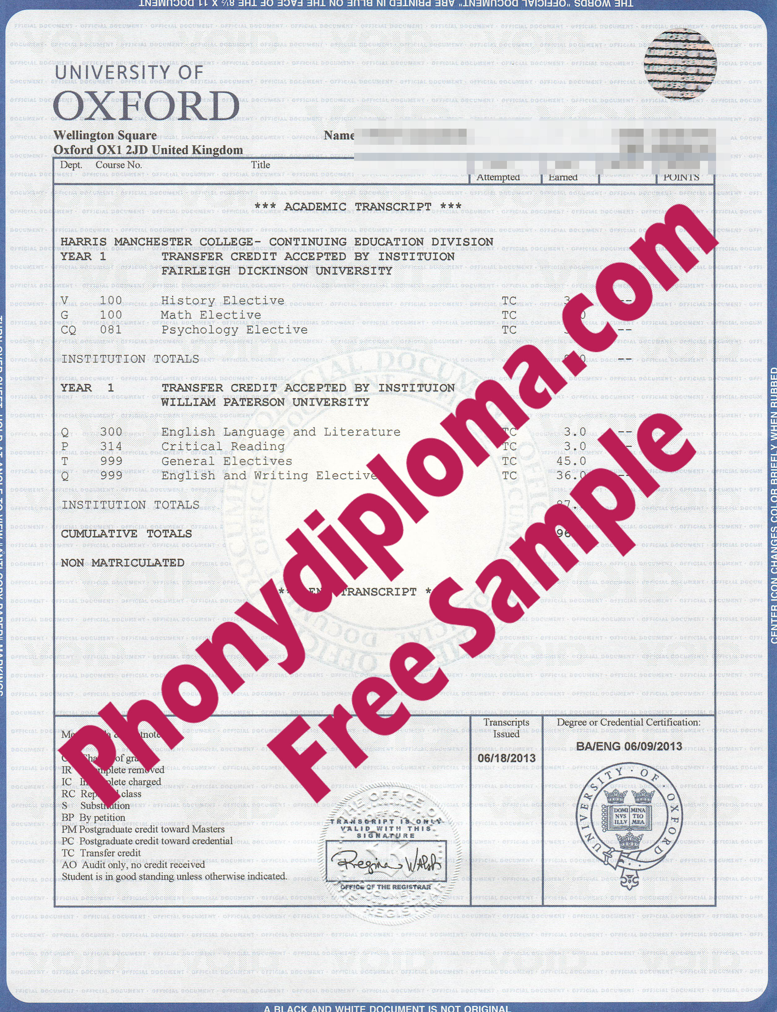 University Of Oxford House Desgin Transcripts Free Sample From Phonydiploma
