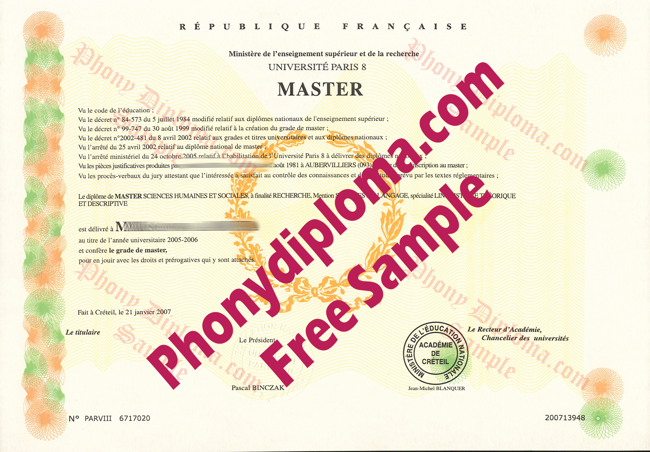 University Of Paris 8 Scan France Free Sample From Phonydiploma