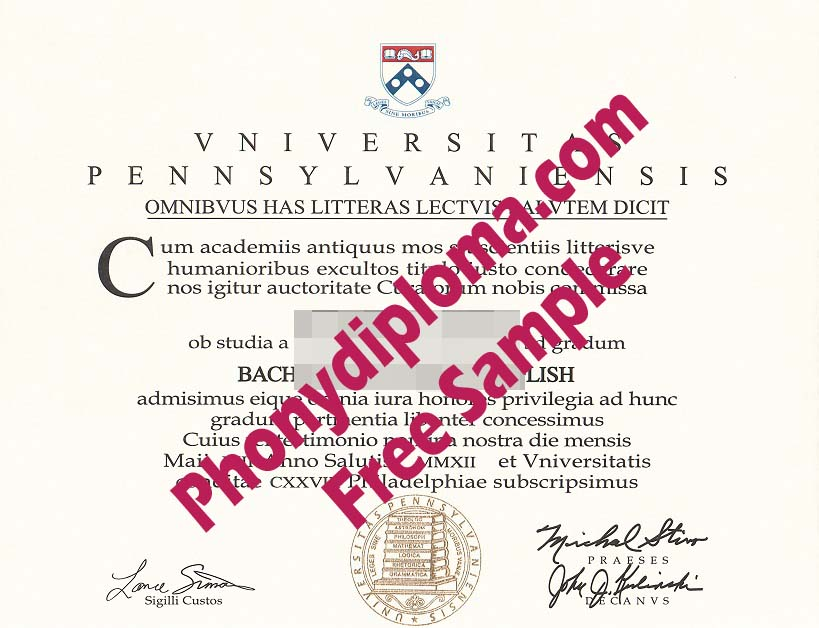 University Of Pennsylvania English Free Sample From Phonydiploma