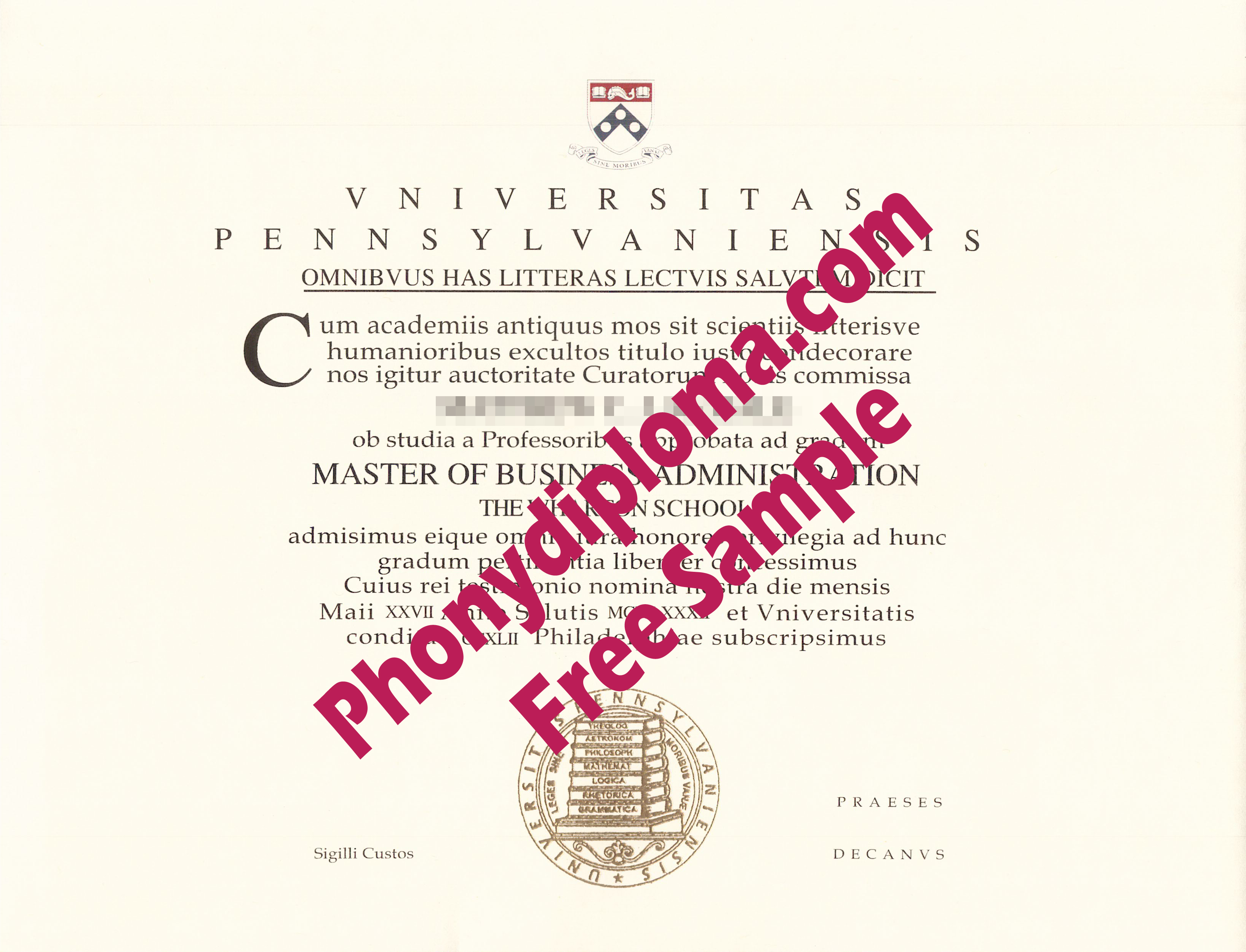 University Of Pennsylvania In Latin From Phonydiploma