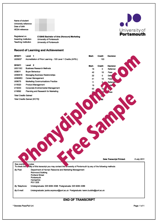 University Of Portsmouth Actual Match Transcripts Free Sample From Phonydiploma