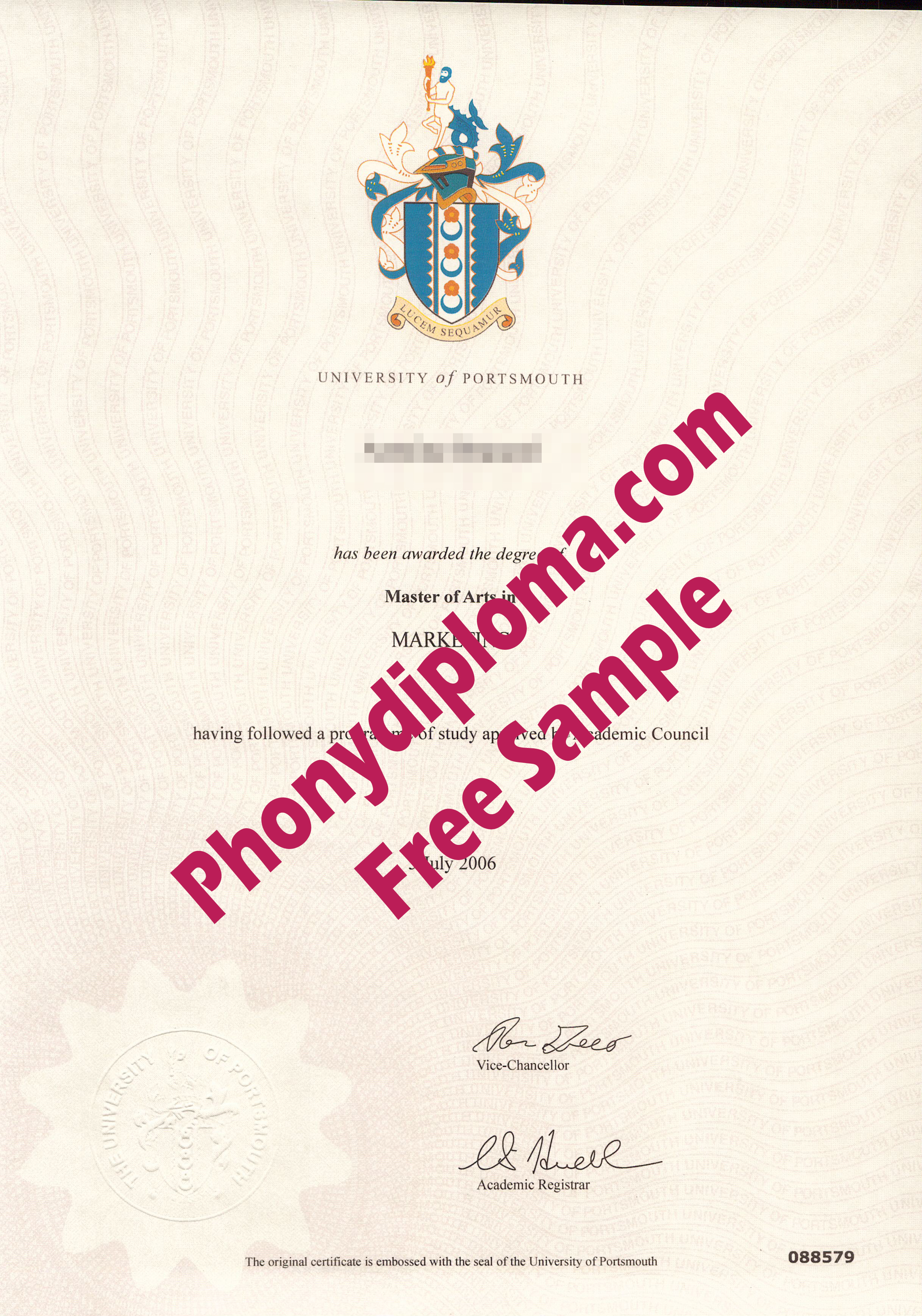 University Of Portsmouth Free Sample From Phonydiploma