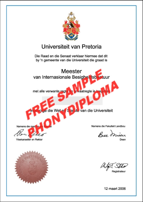University Of Pretoria Diploma Free Sample From Phonydiploma