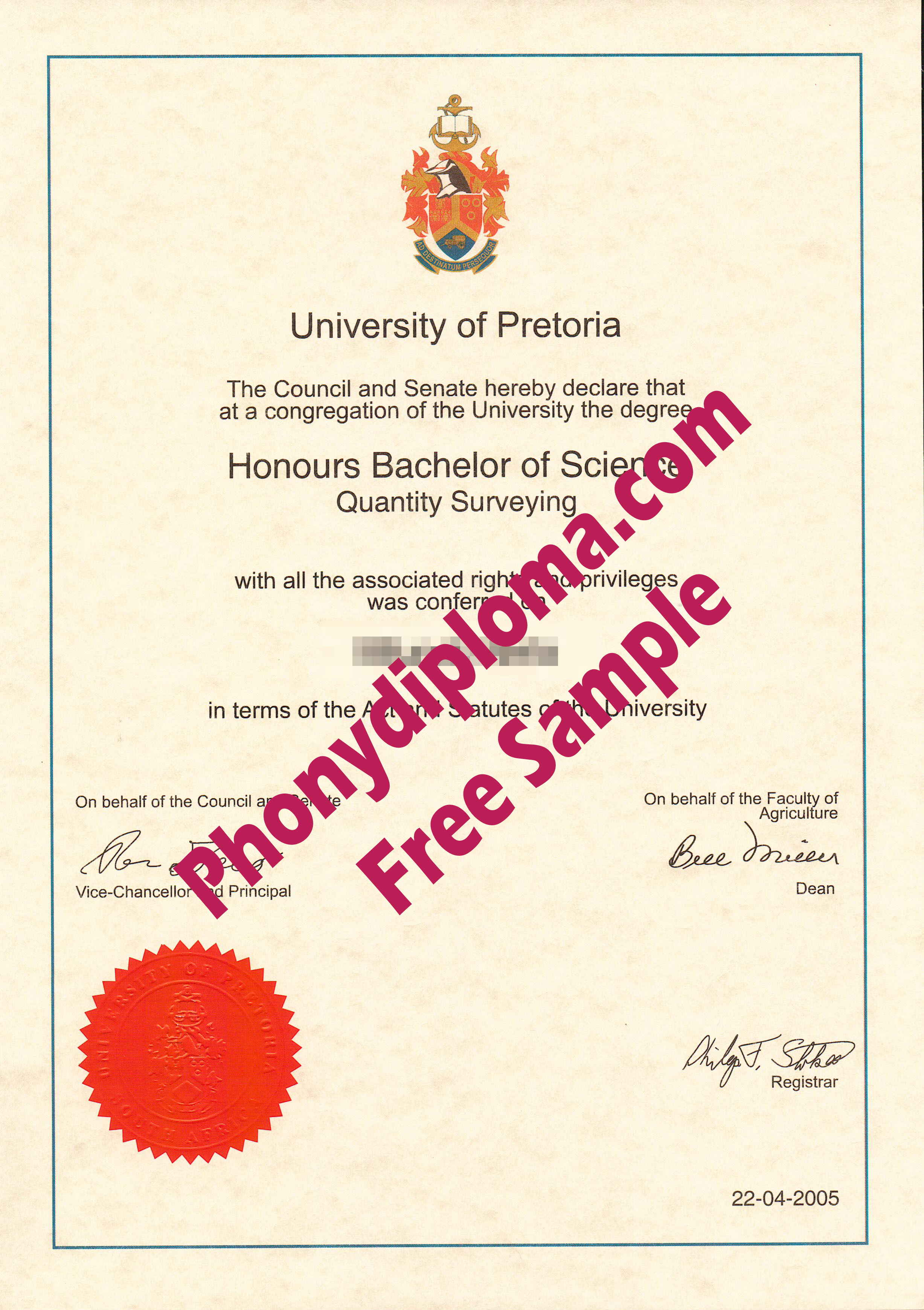 University Of Pretoria Free Sample From Phonydiploma