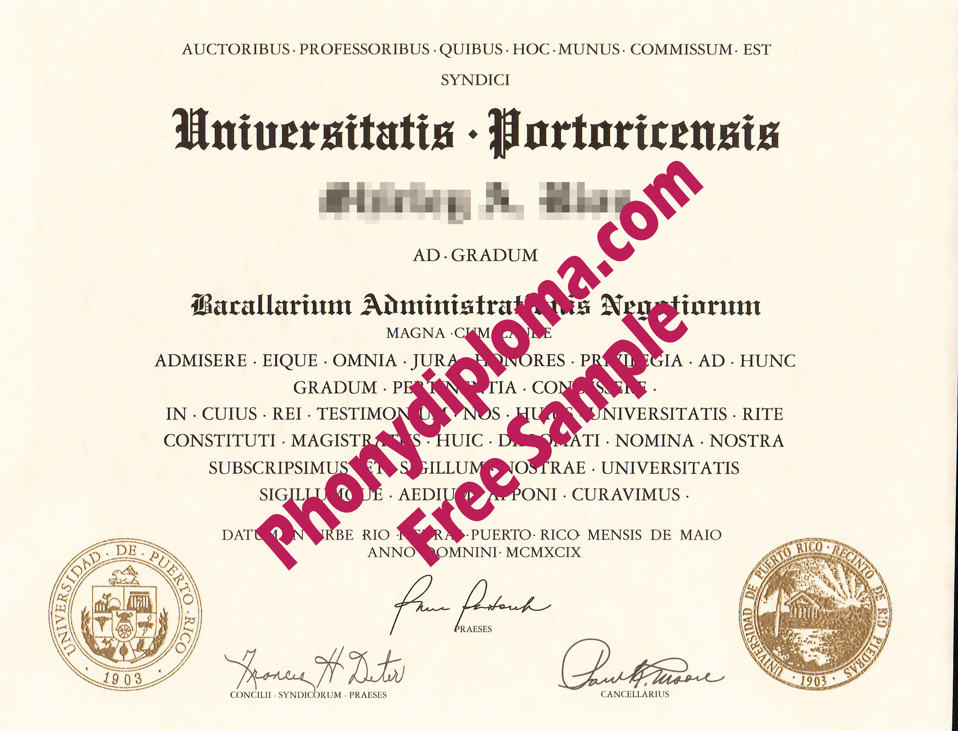 University Of Puerto Rico Free Sample From Phonydiploma