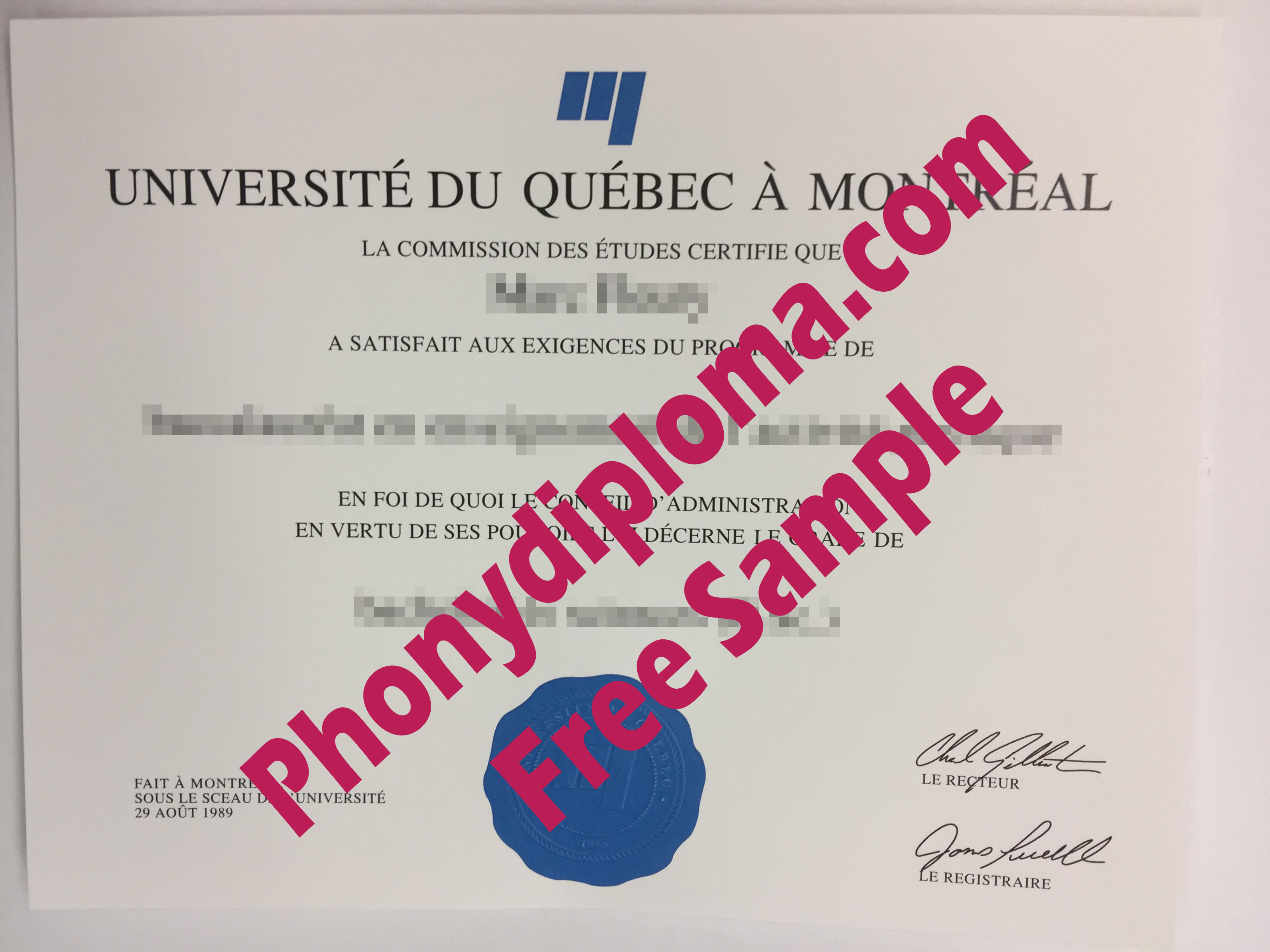 University Of Quebec At Montreal Universite Du Quebec A Montreal Free Sample From Phonydiploma