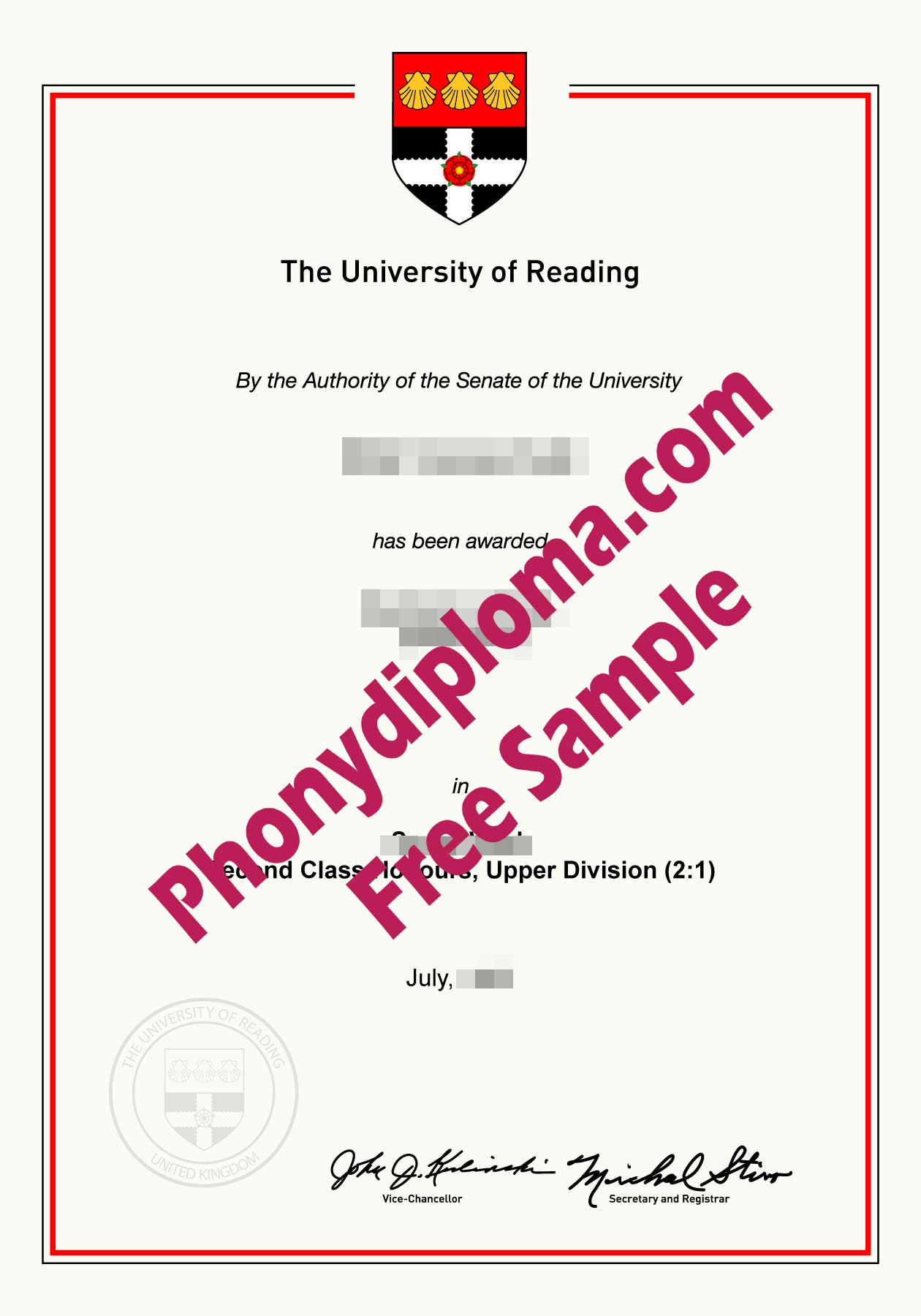 University Of Reading Free Sample From Phonydiploma