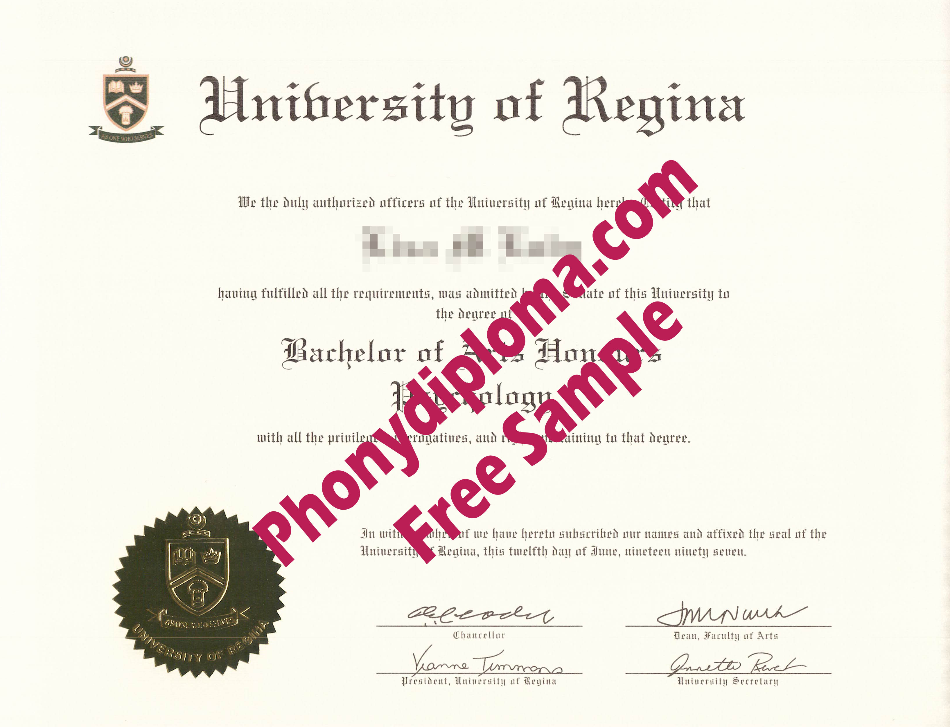 University Of Regina Free Sample From Phonydiploma