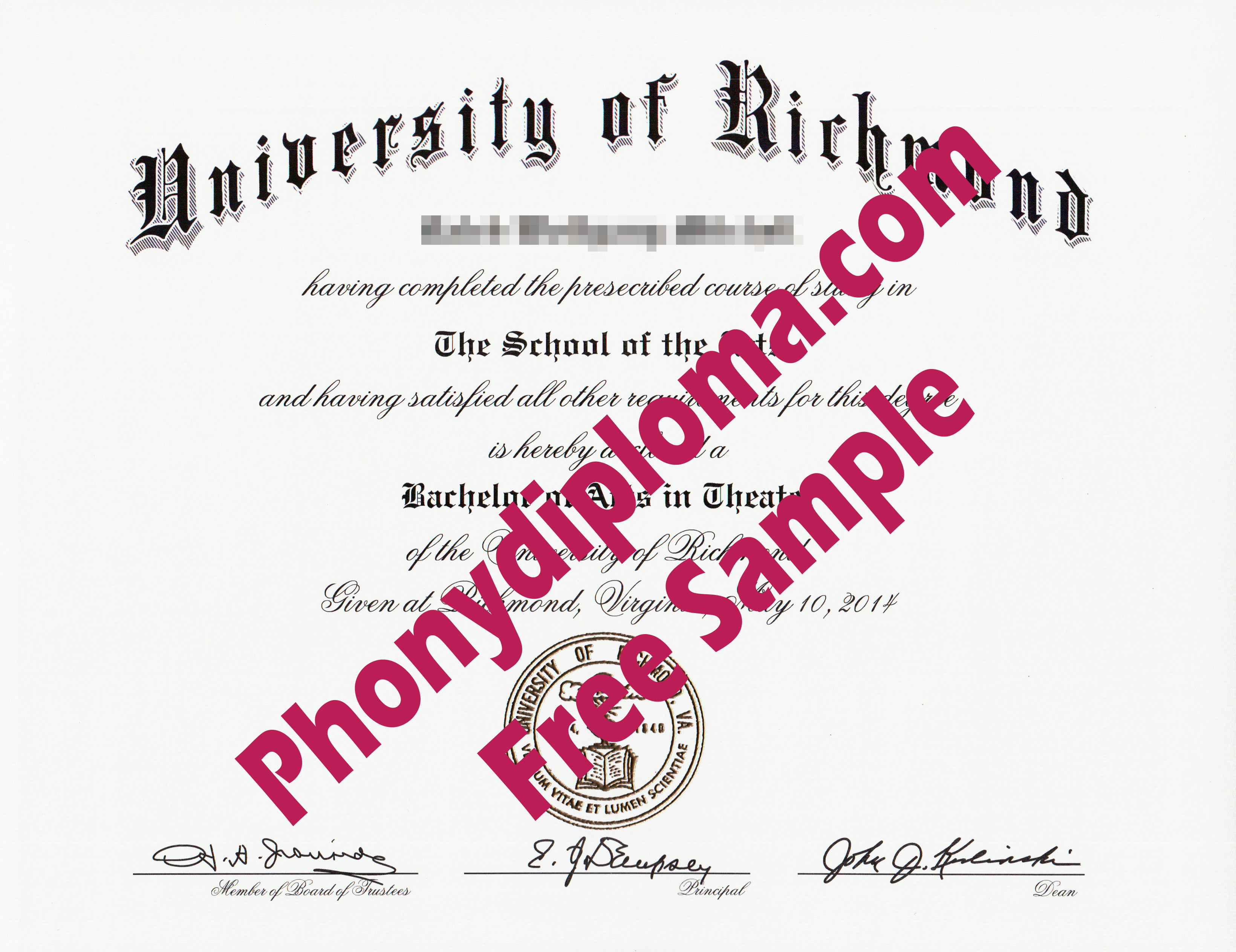 University Of Richmond Free Sample From Phonydiploma