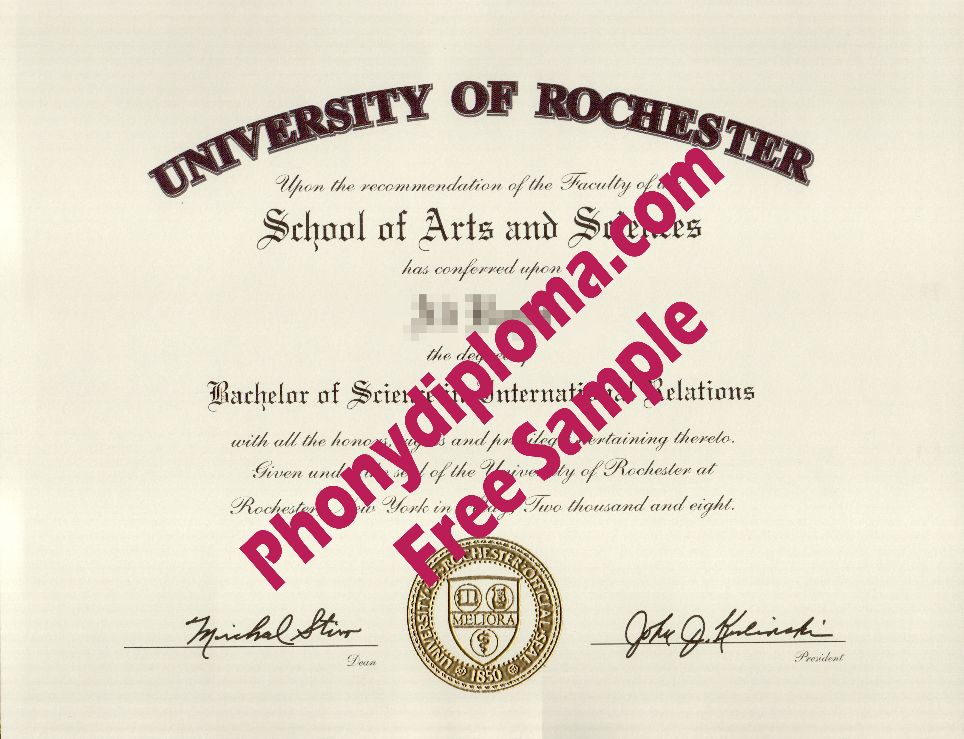 University Of Rochester Free Sample From Phonydiploma