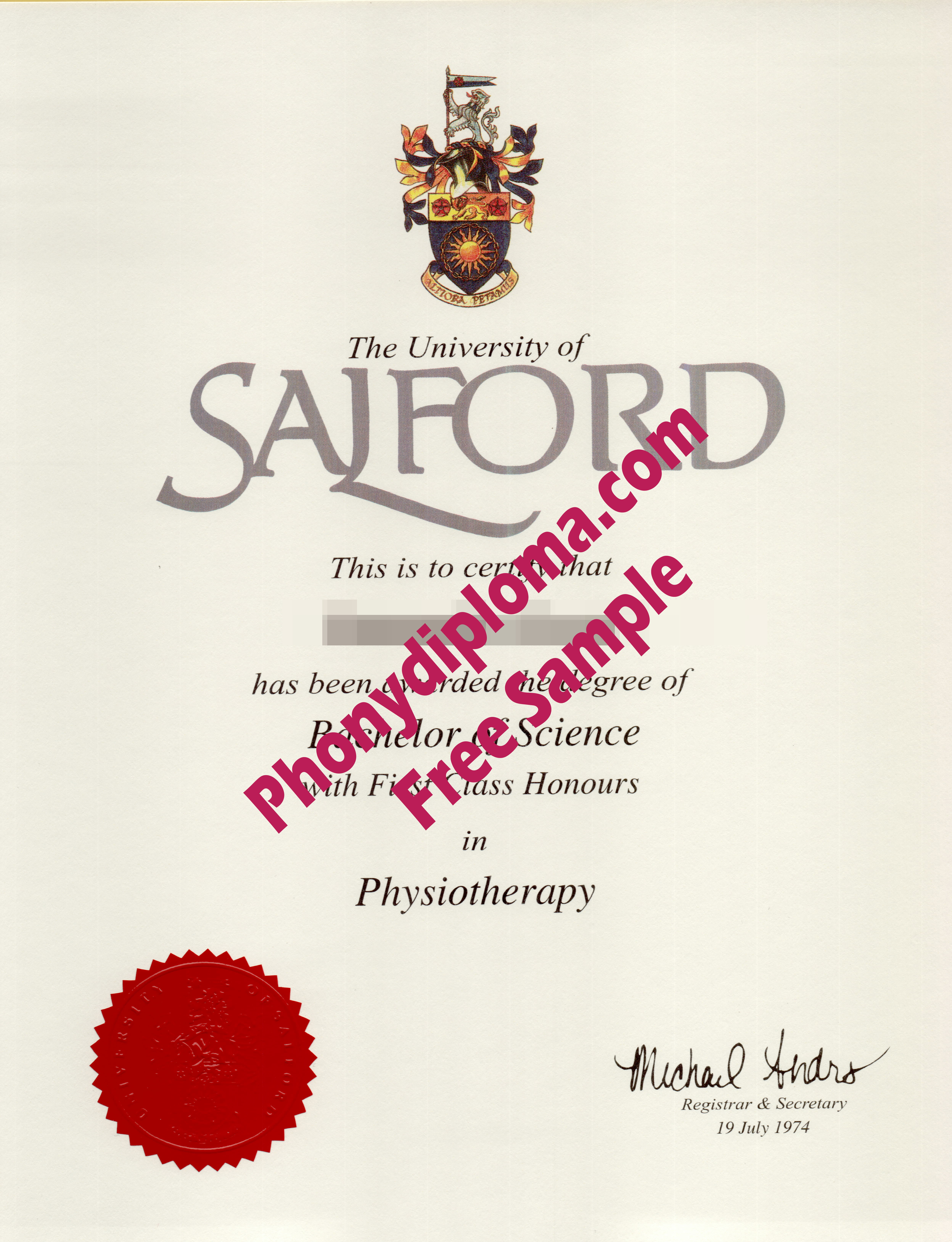 University Of Salford Free Sample From Phonydiploma