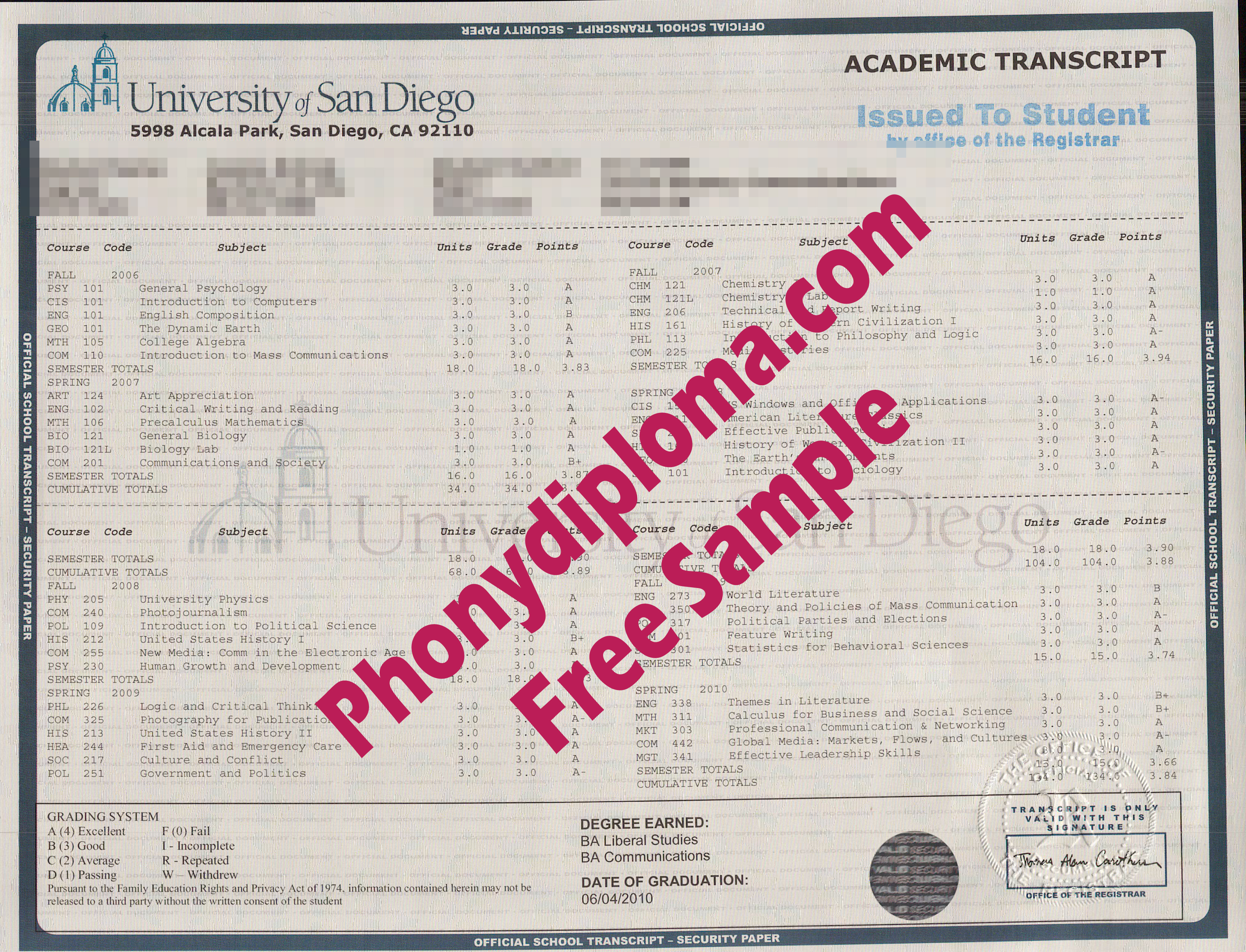 University Of San Diego Actual Match Transcript  Free Sample From Phonydiploma