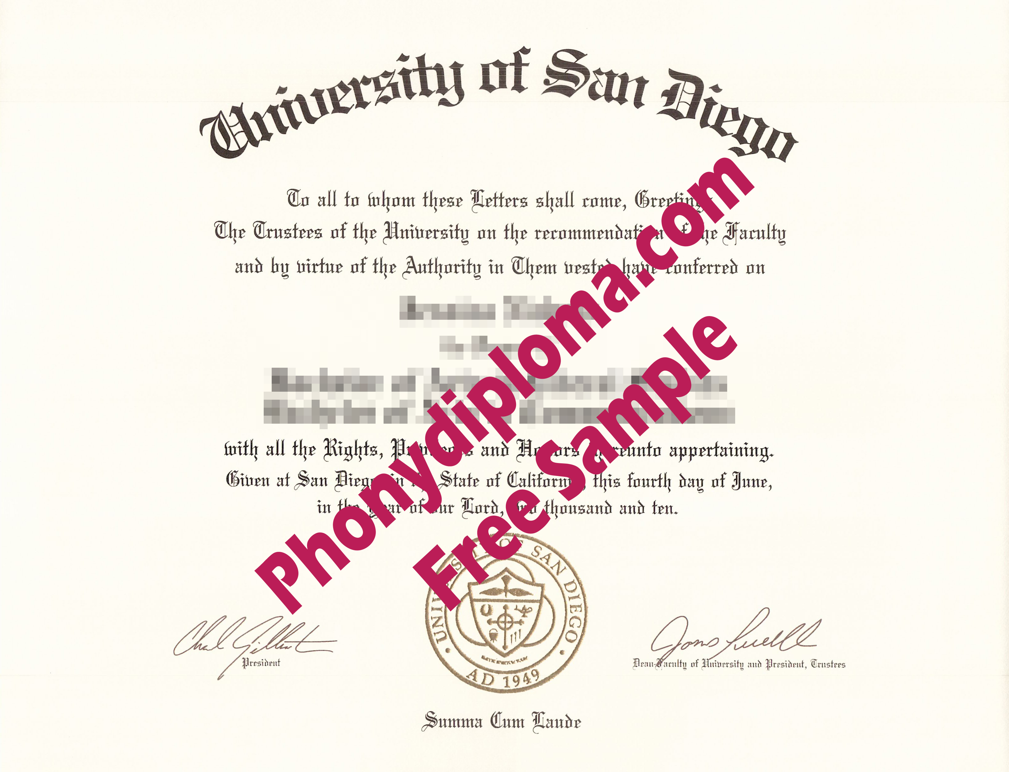 University Of San Diego Free Sample From Phonydiploma