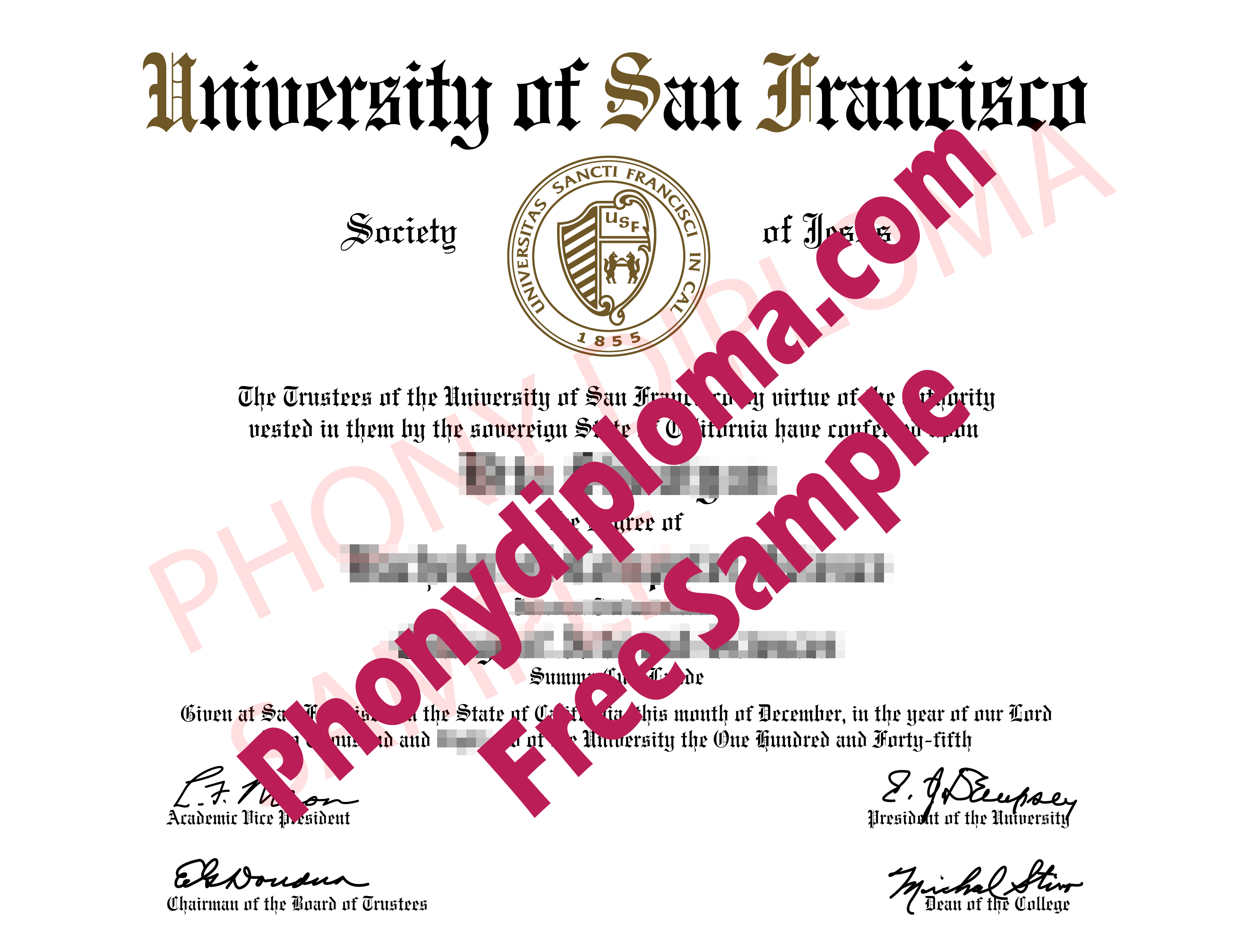 University Of San Francisco Free Sample From Phonydiploma