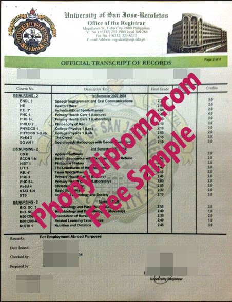 University Of San Jose Recoletos Phillipines Actual Match Transcript Free Samnple From Phonydiploma