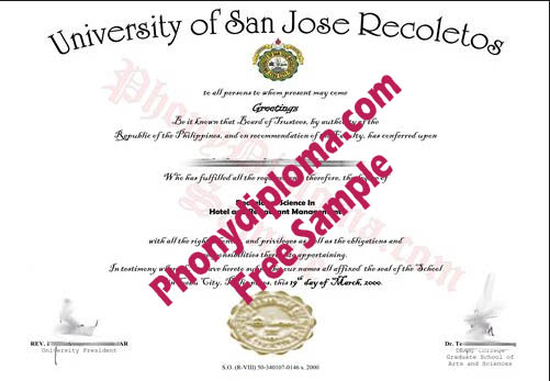 University Of San Jose Recoletos Sample From Phonydiploma