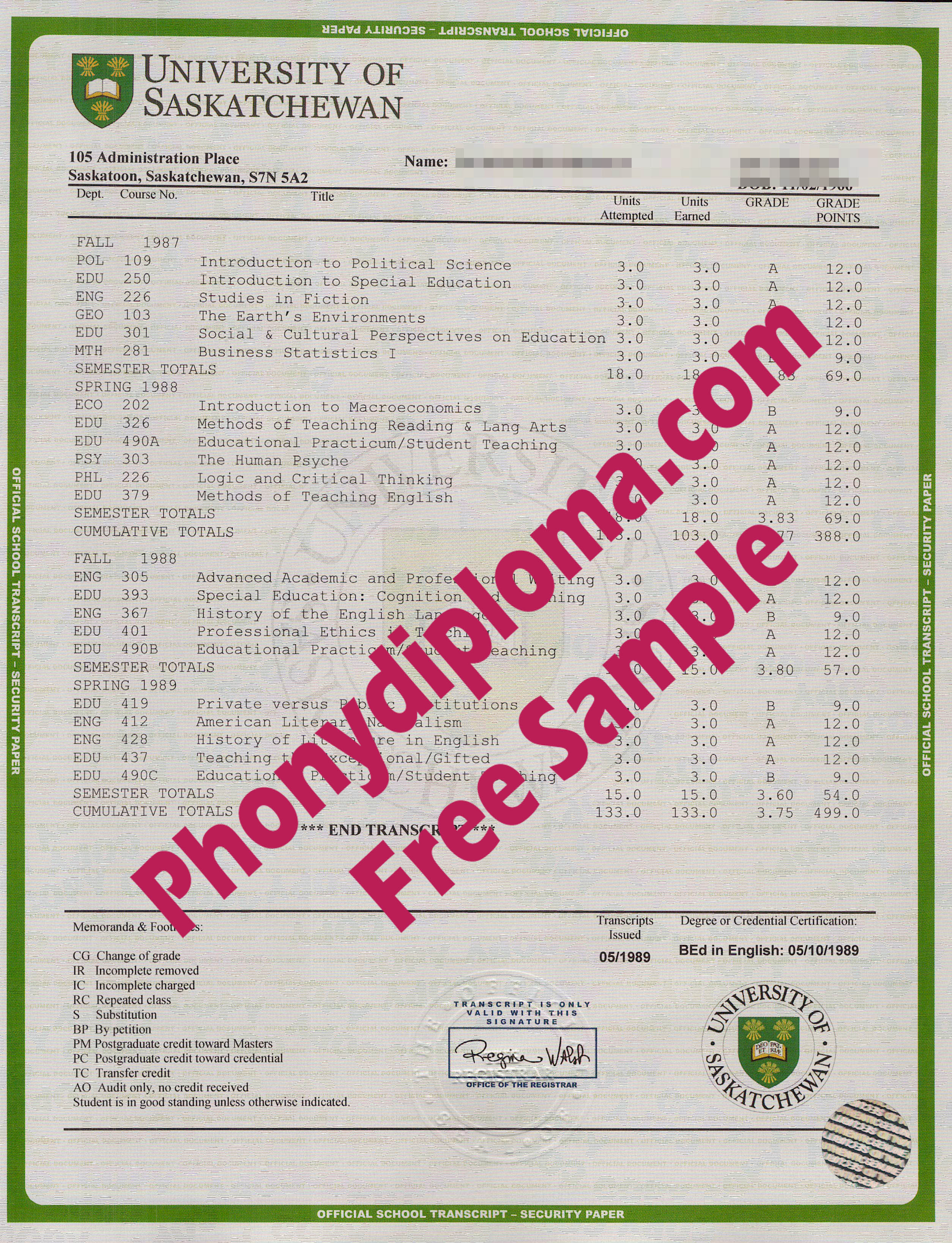 University Of Saskatchewan House Design Transcripts Free Sample From Phonydiploma