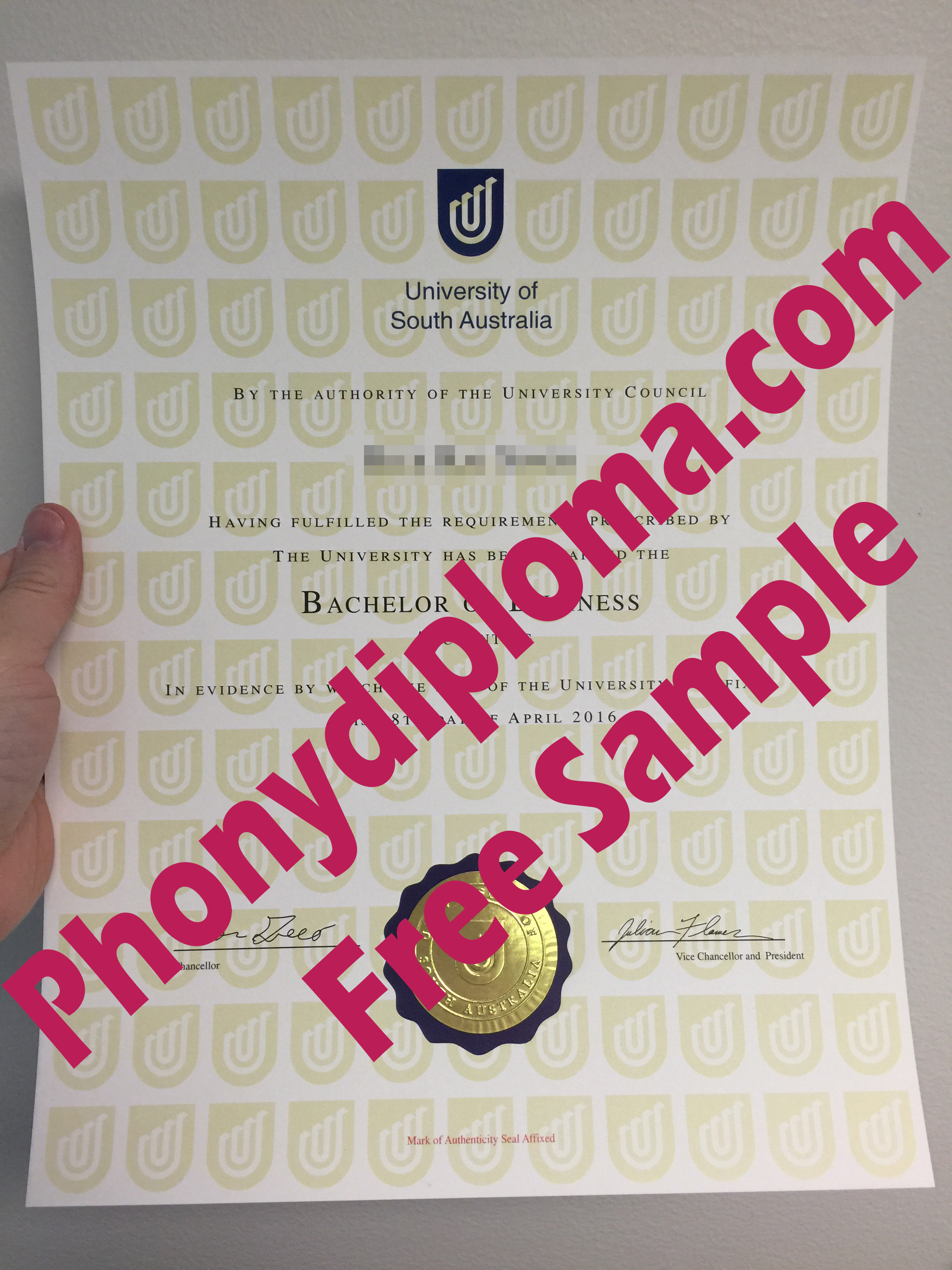University Of South Australia Free Sample From Phonydiploma (2)