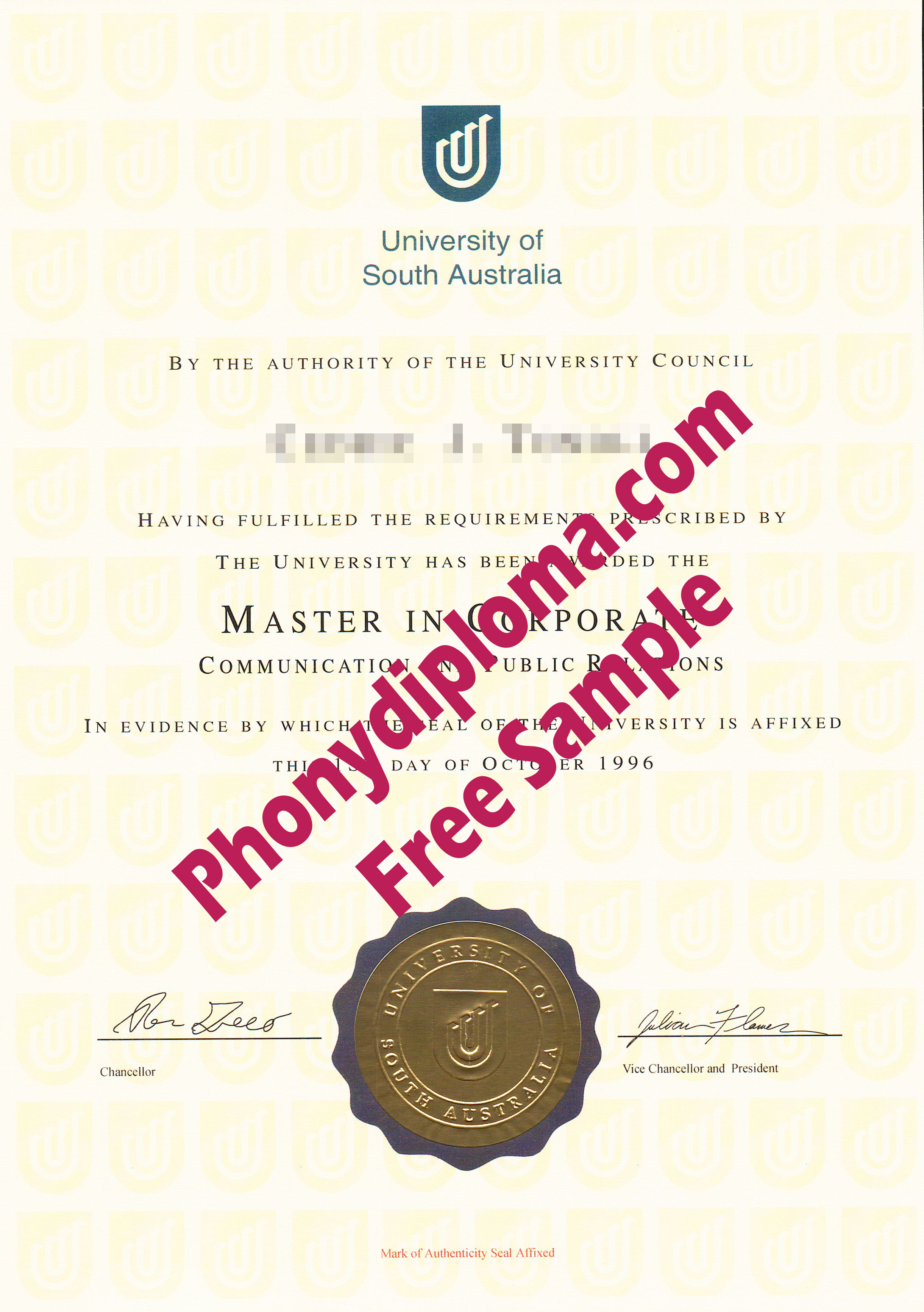 University Of South Australia Free Sample From Phonydiploma