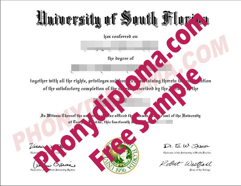 University Of South Florida Free Sample From Phonydiploma