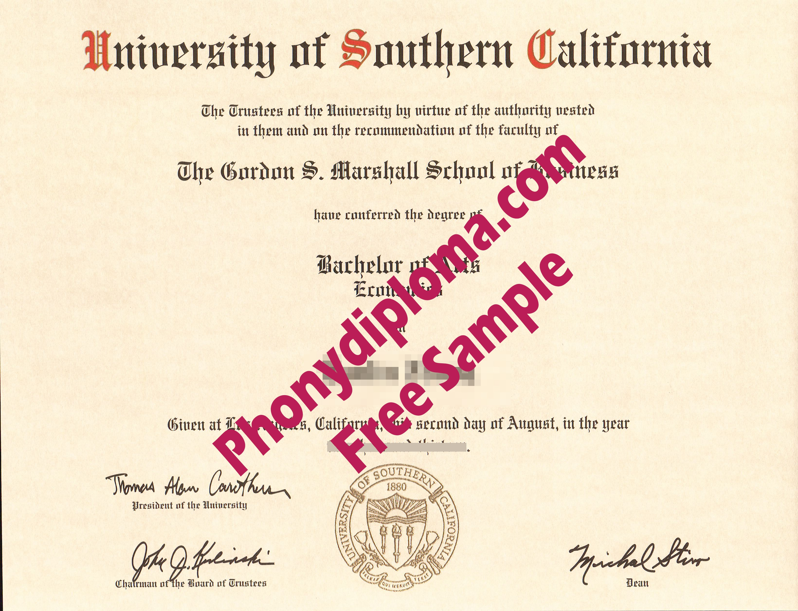 University Of Southern California Free Sample From Phonydiploma