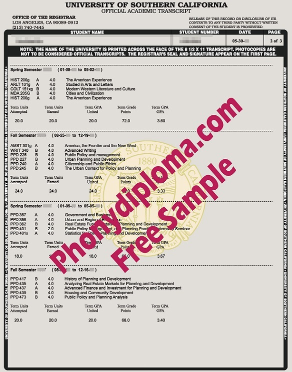 University Of Southern California Usc Actual Match Trans Free Sample From Phonydiploma