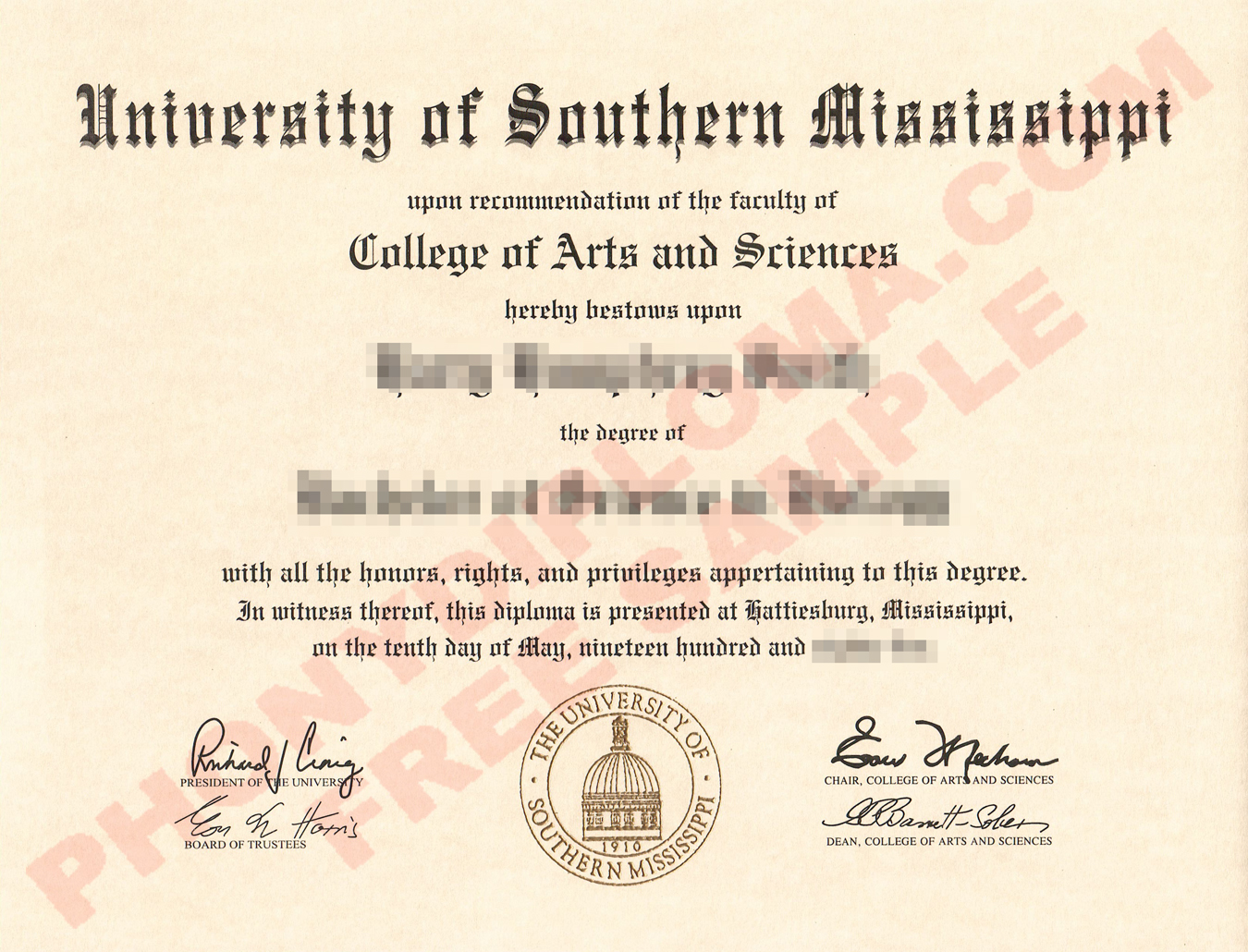 University Of Southern Mississippi Free Sample From Phonydiploma