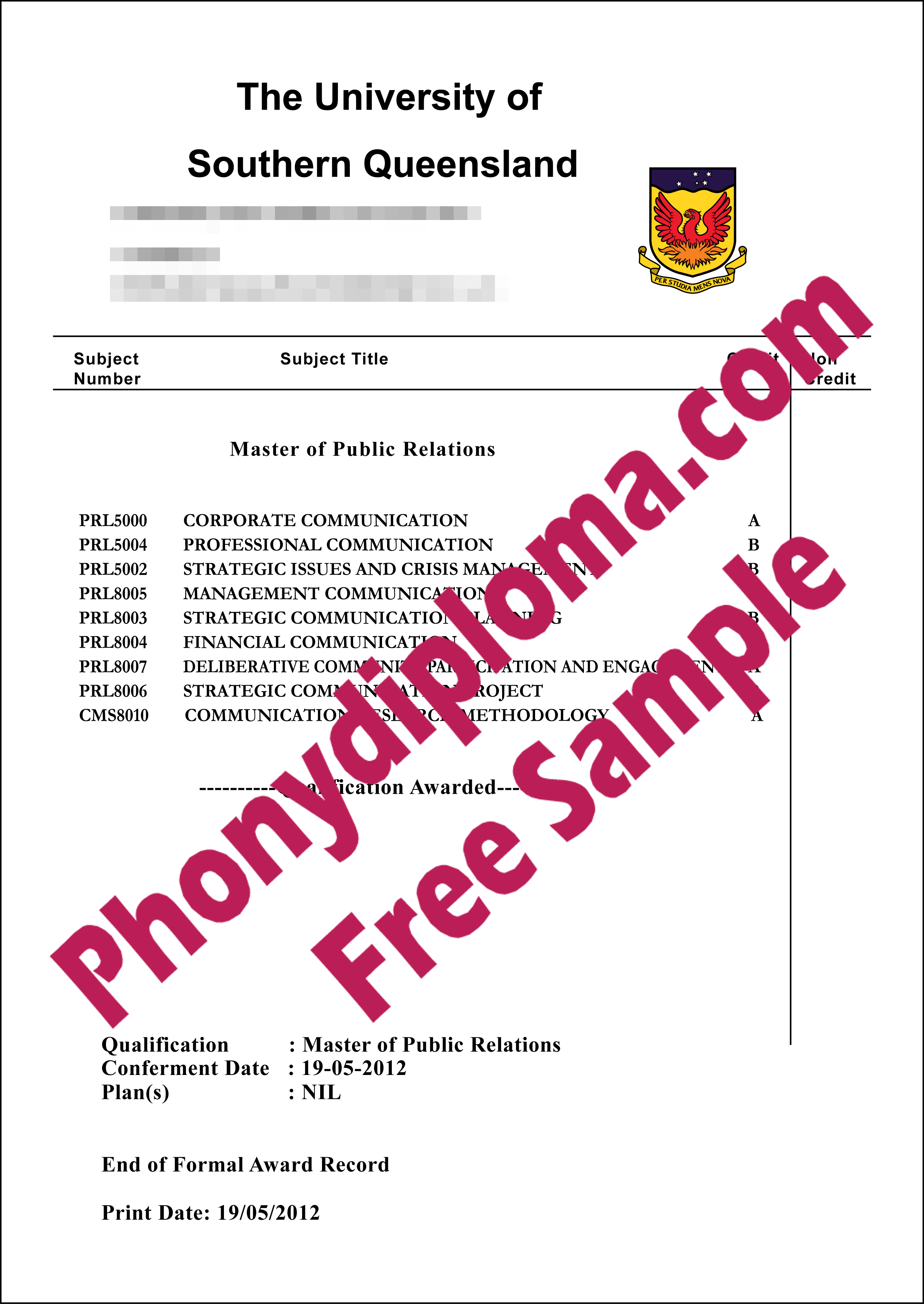 University Of Southern Queensland Actual Match Transcript Free Sample From Phonydiploma (2)