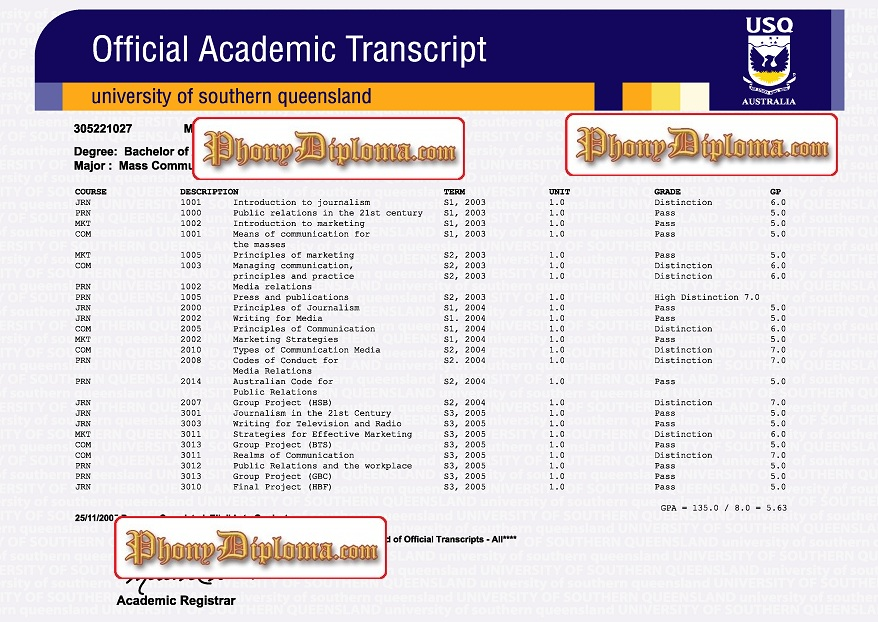 University Of Southern Queensland Actual Match Transcript Free Sample From Phonydiploma