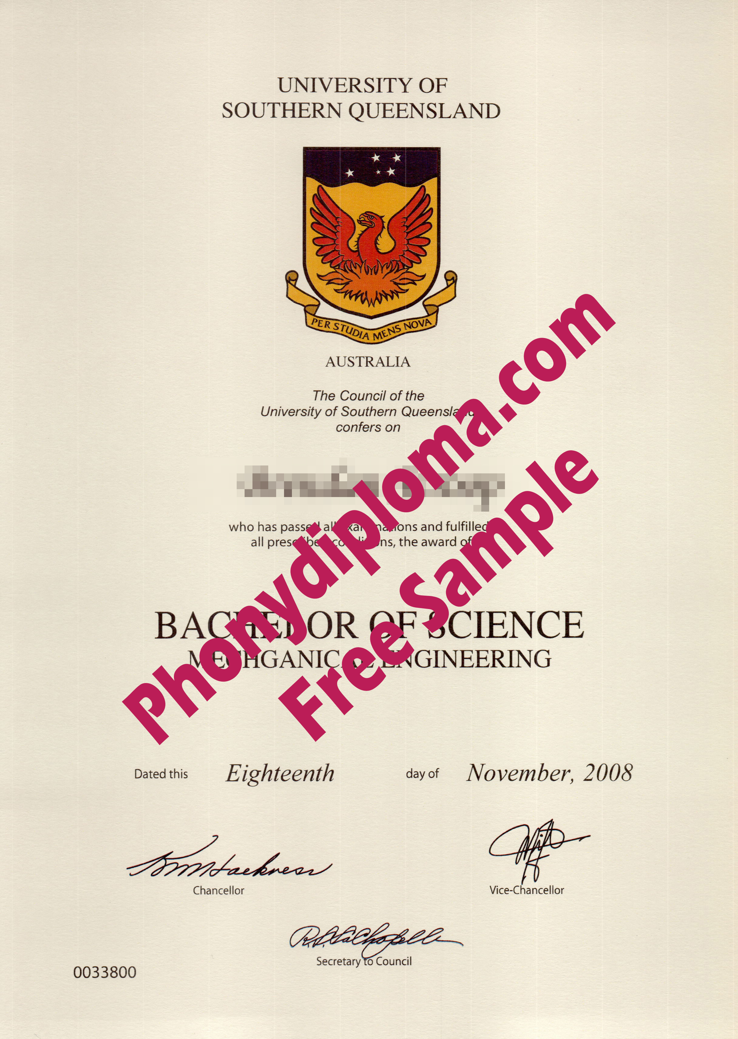 University Of Southern Queensland Free Sample From Phonydiploma