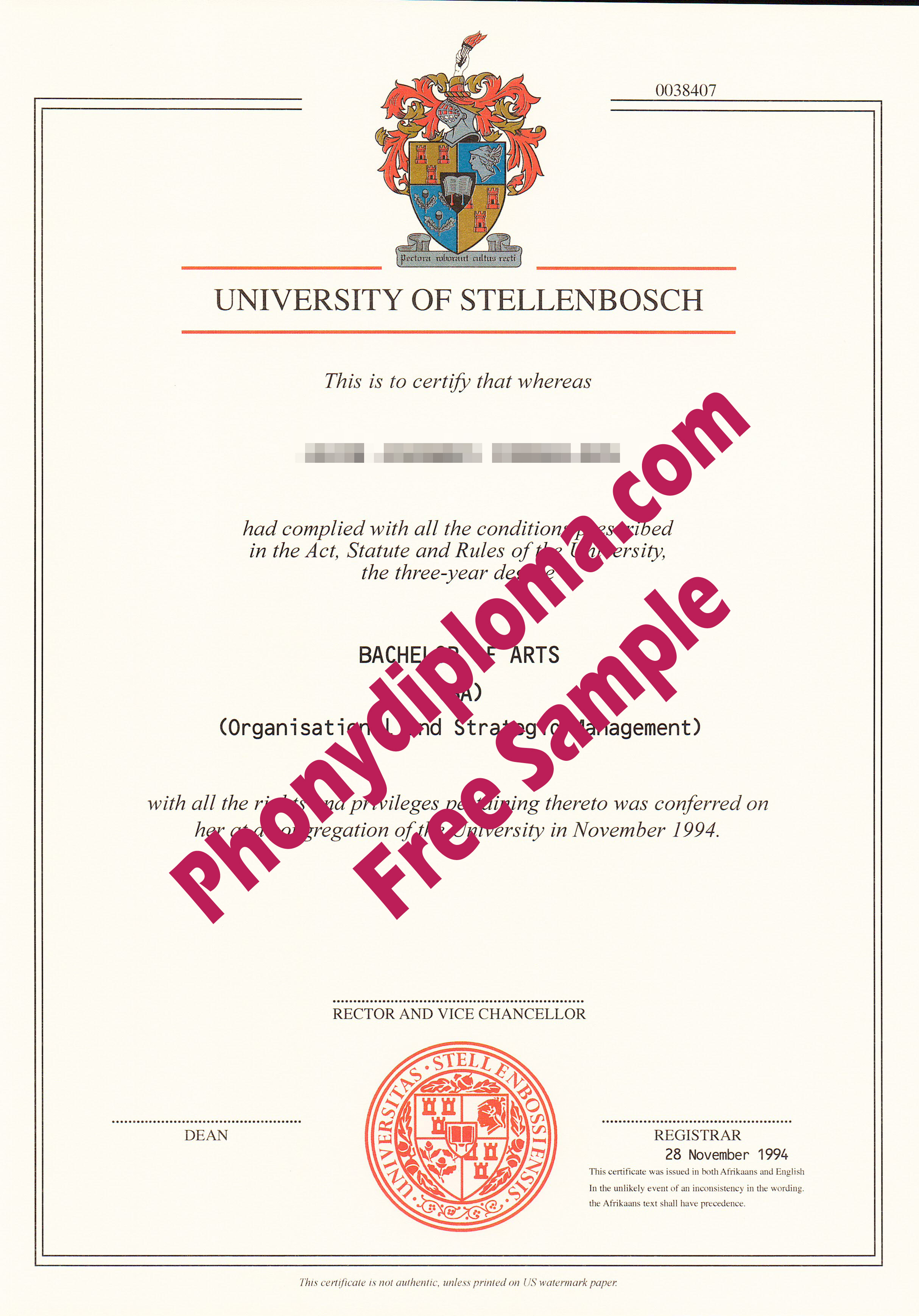 University Of Stellenbosch Free Sample From Phonydiploma