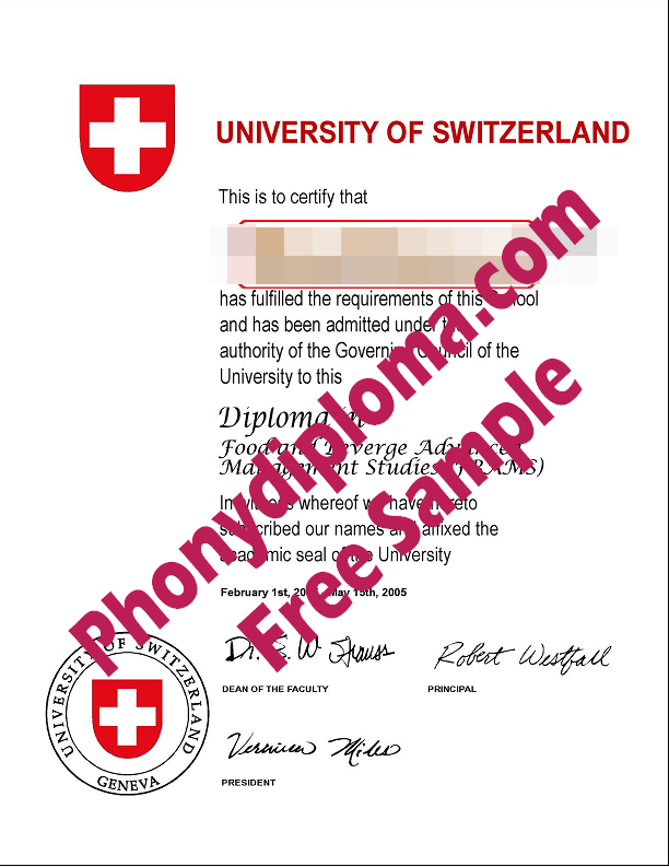 University Of Switzerland Diploma Free Sample From Phonydiploma