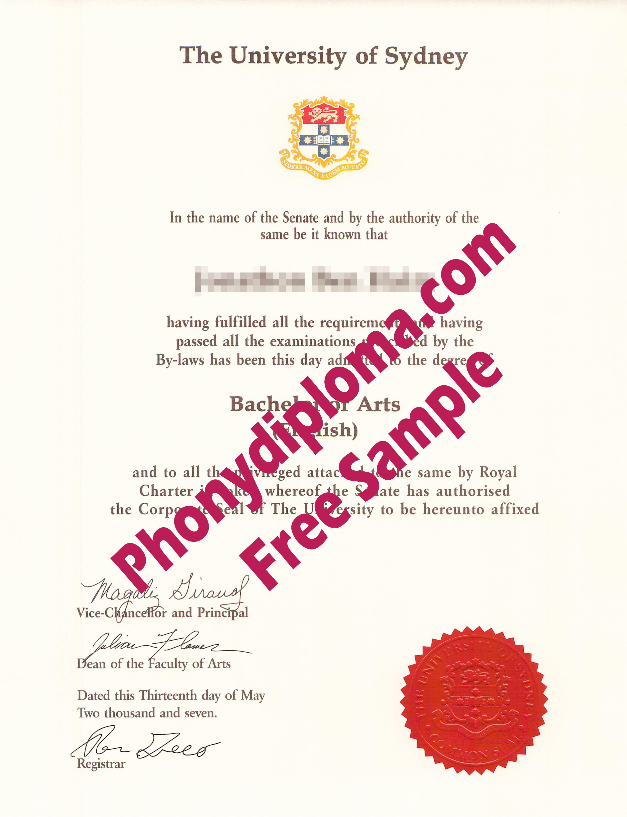 University Of Sydney Free Sample From Phonydiploma