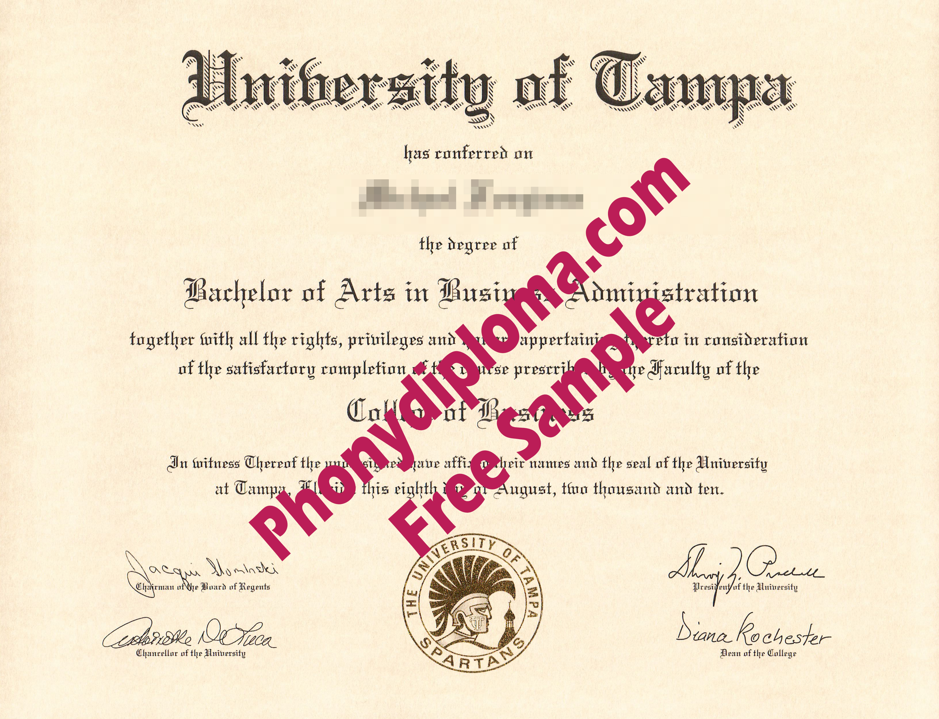 University Of Tampa Free Sample From Phonydiploma