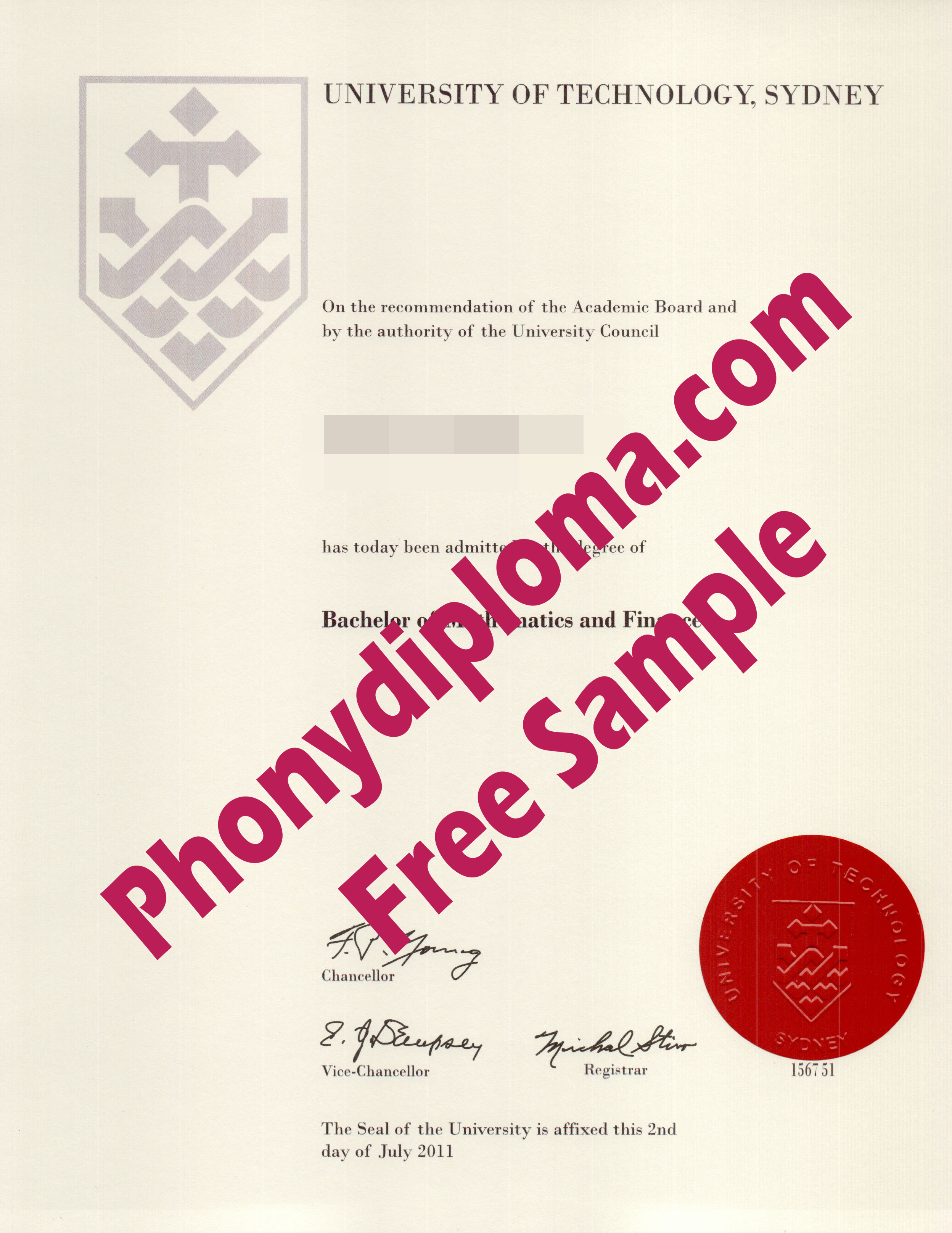 University Of Technology Sydney Free Sample From Phonydiploma