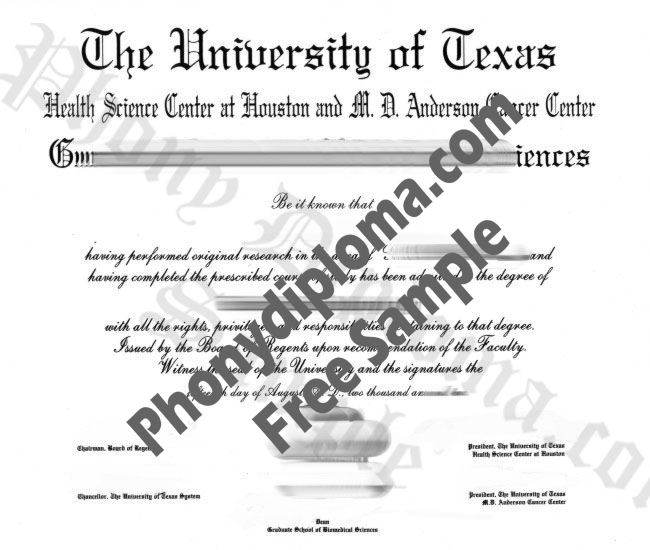 University Of Texas Health Science Center, Houston Free Sample From Phonydiploma