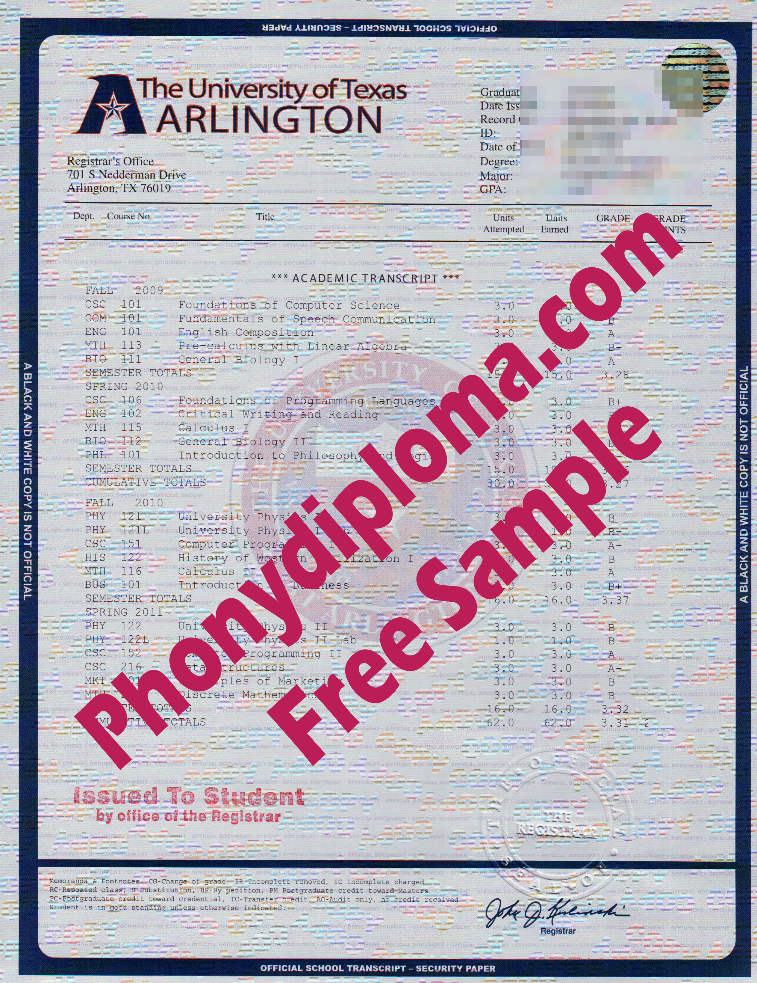 University Of Texas At Arlington House Design Transcript Free Sample From Phonydiploma