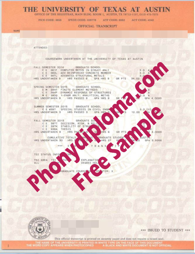 University Of Texas At Austin Actual Match Transcripts Free Sample From Phonydiploma