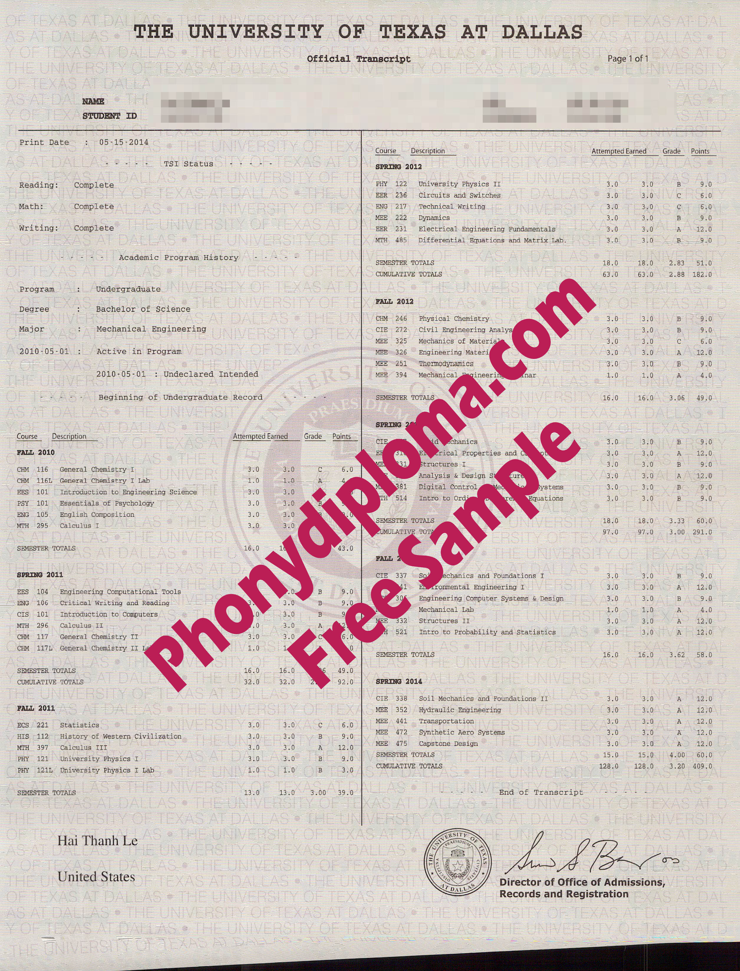 University Of Texas At Dallas Actual Match Transcripts Free Sample From Phonydiploma