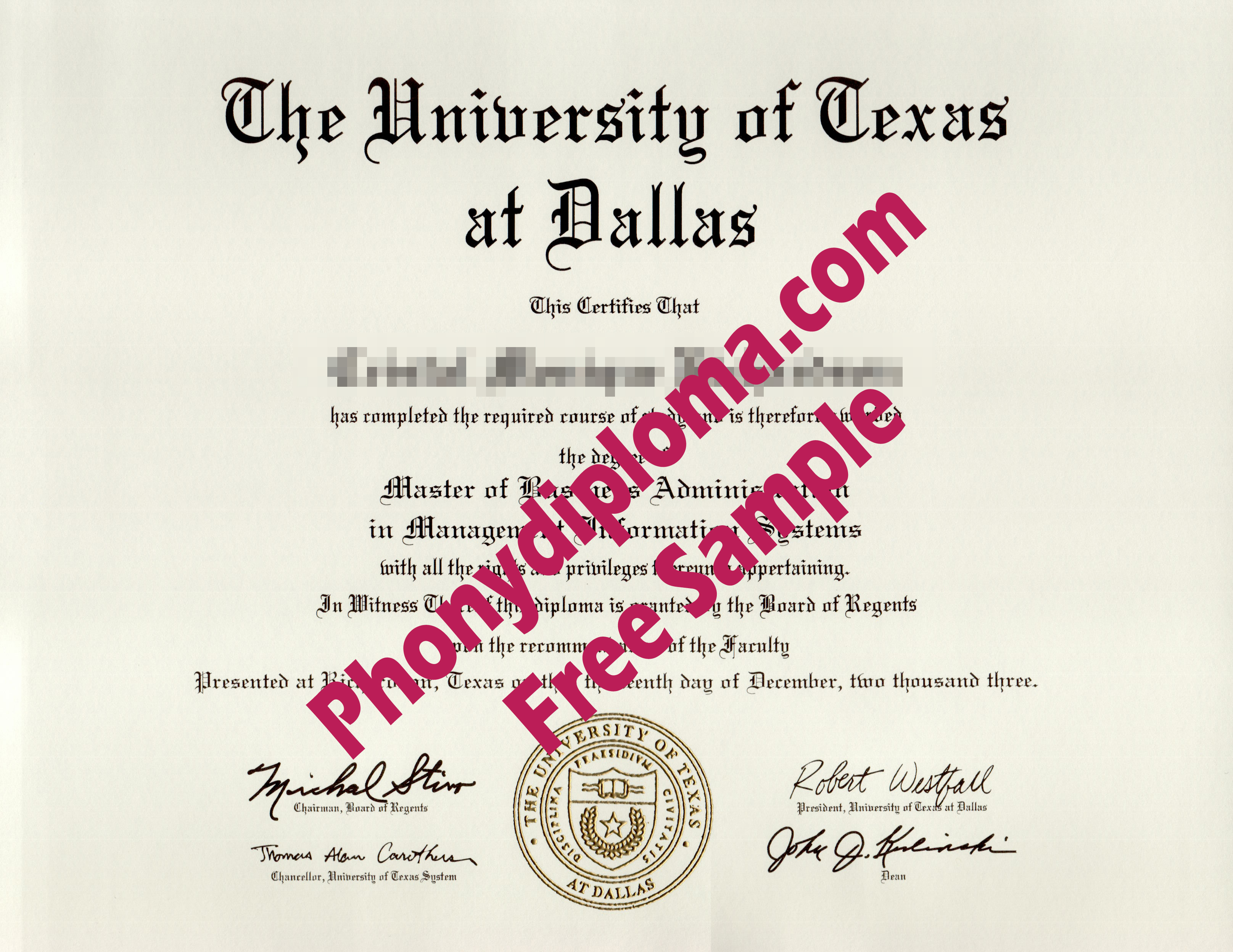 University Of Texas At Dallas With Raised Gold Seal Free Sample From Phonydiploma