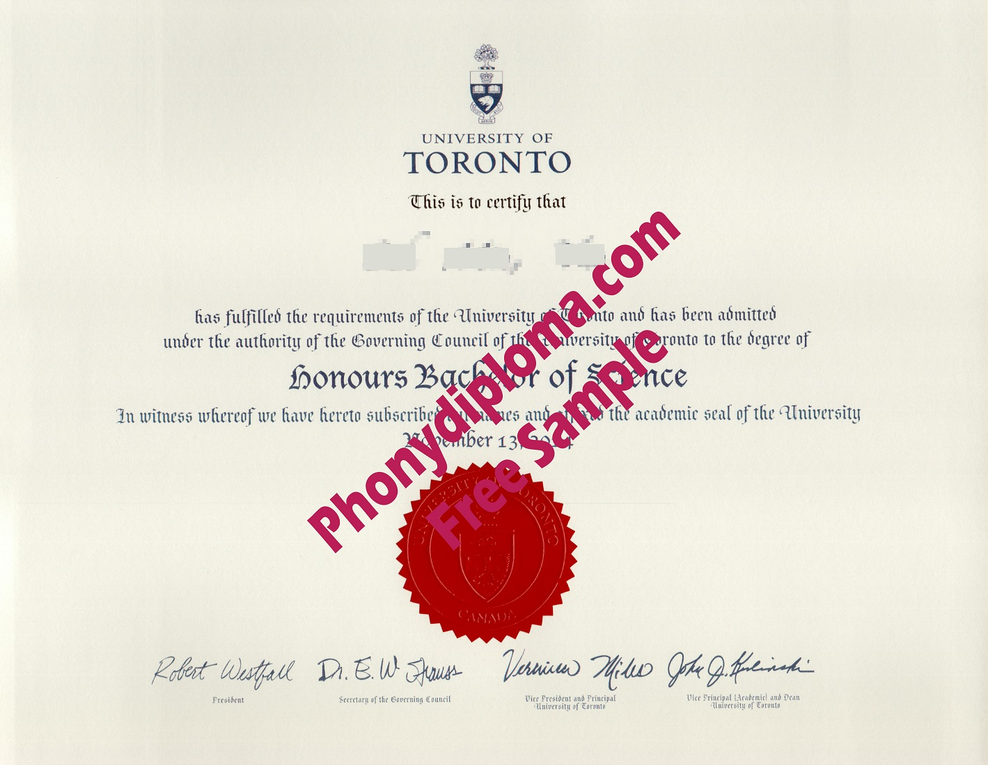 University Of Toronto Free Sample From Phonydiploma