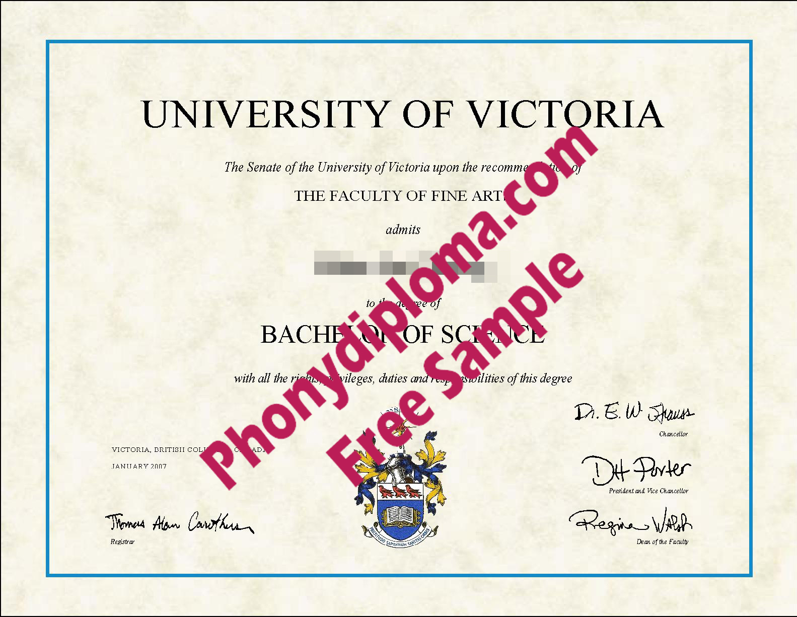 University Of Victoria Free Sample From Phonydiploma
