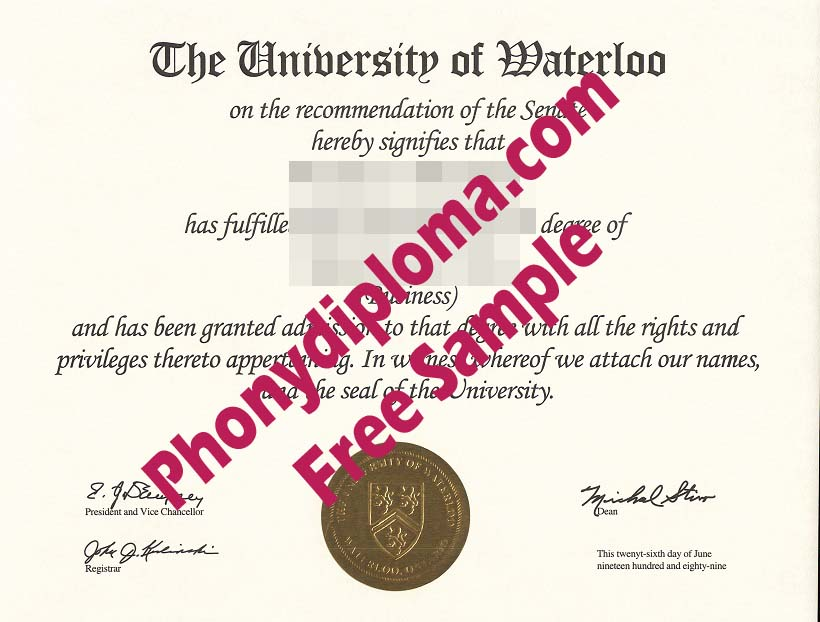 University Of Waterloo 2 Free Sample From Phonydiploma