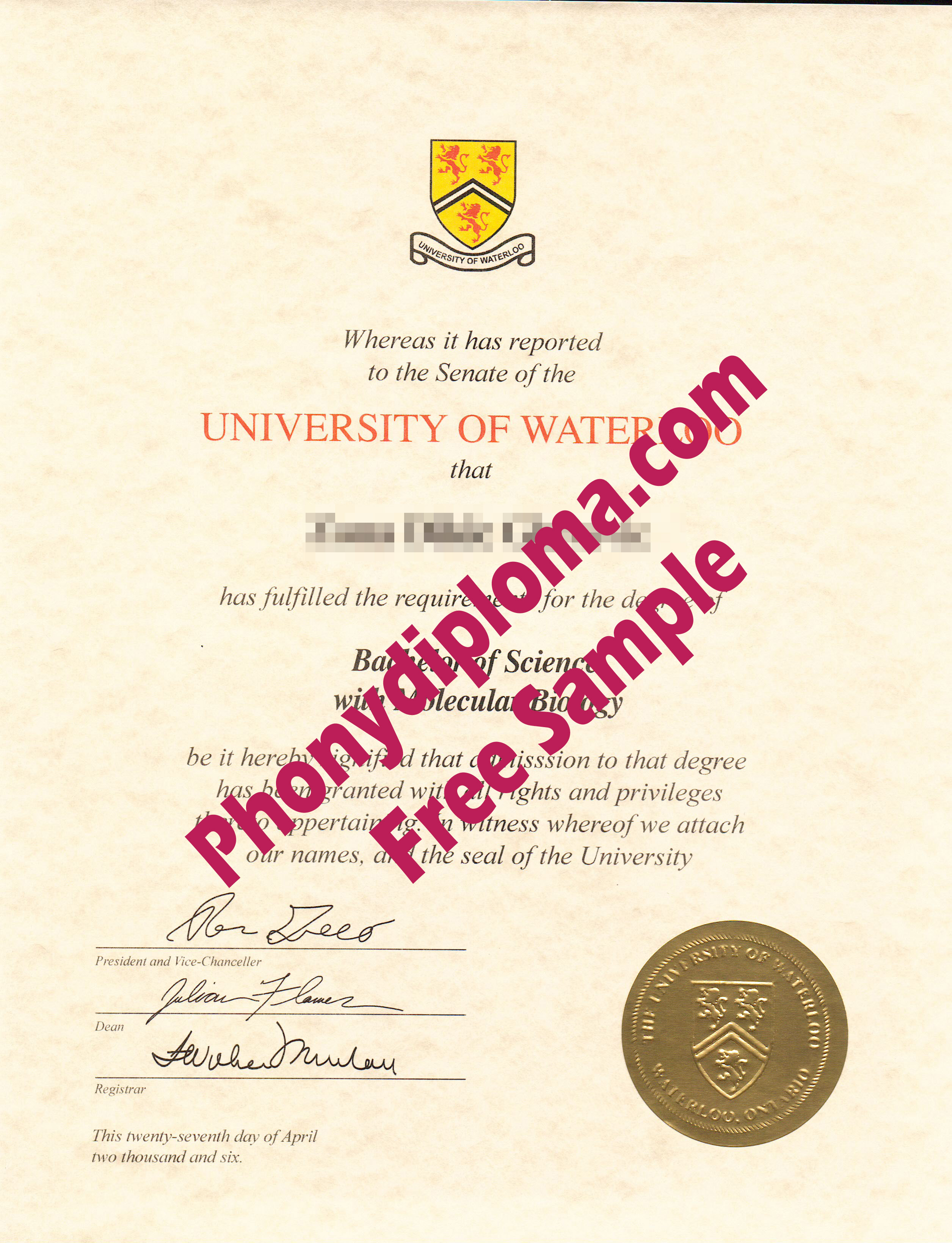University Of Waterloo Free Sample From Phonydiploma