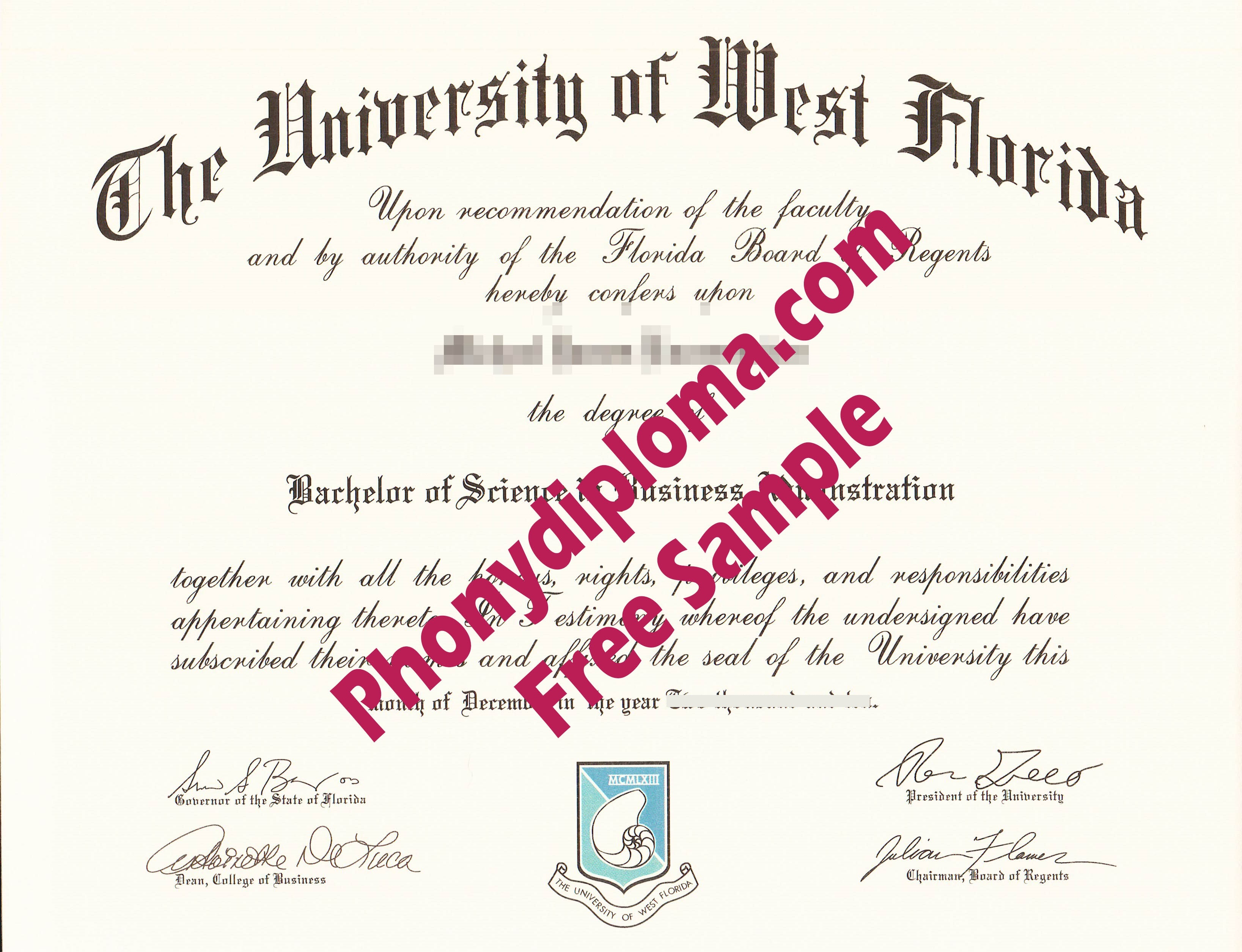 University Of West Florida Free Sample From Phonydiploma