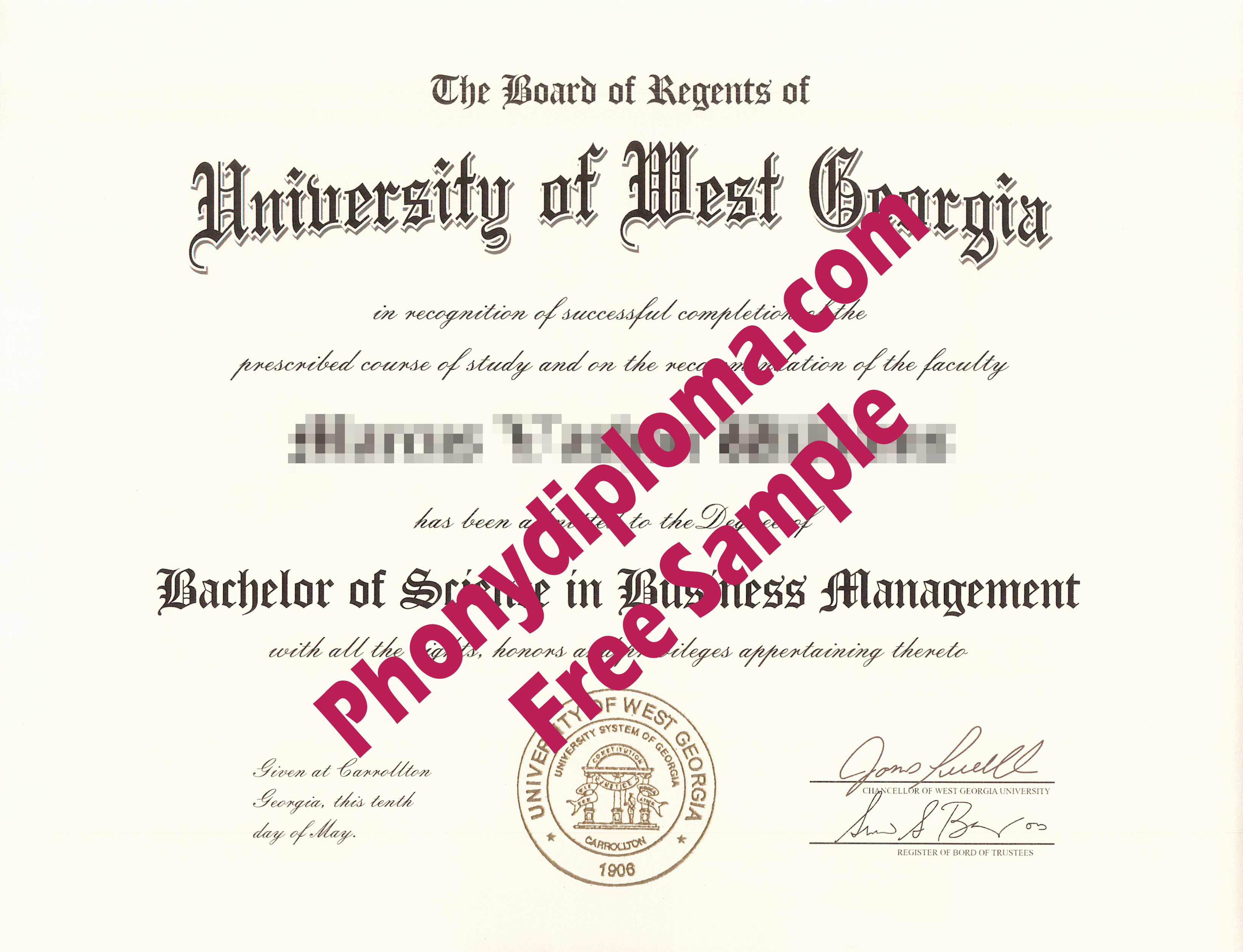 University Of West Georgia Free Sample From Phonydiploma